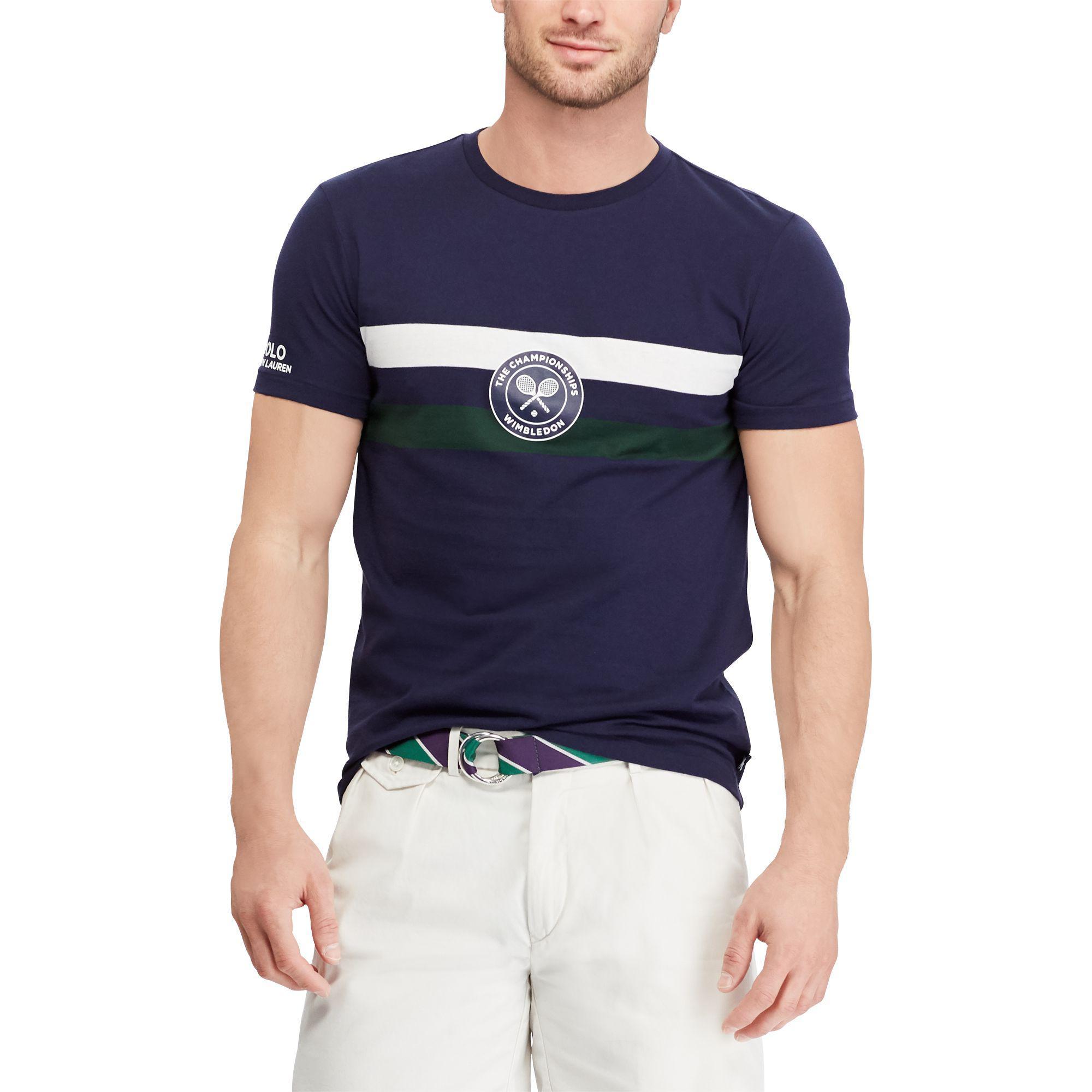 5324cfca Lyst - Polo Ralph Lauren Wimbledon Custom Slim T-shirt in Blue for Men