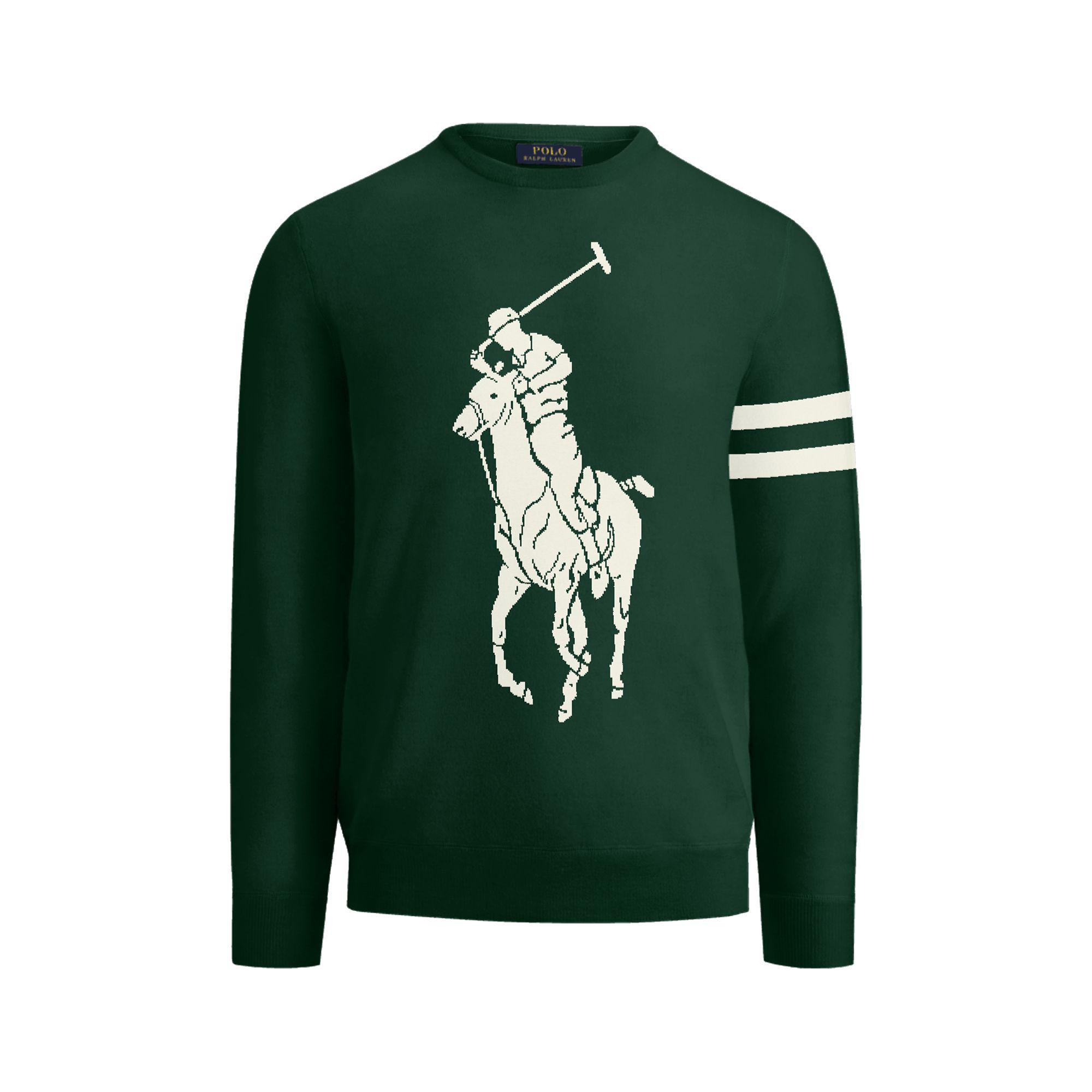 Lyst Ralph Lauren The Custom Crewneck Sweater In Green For Men