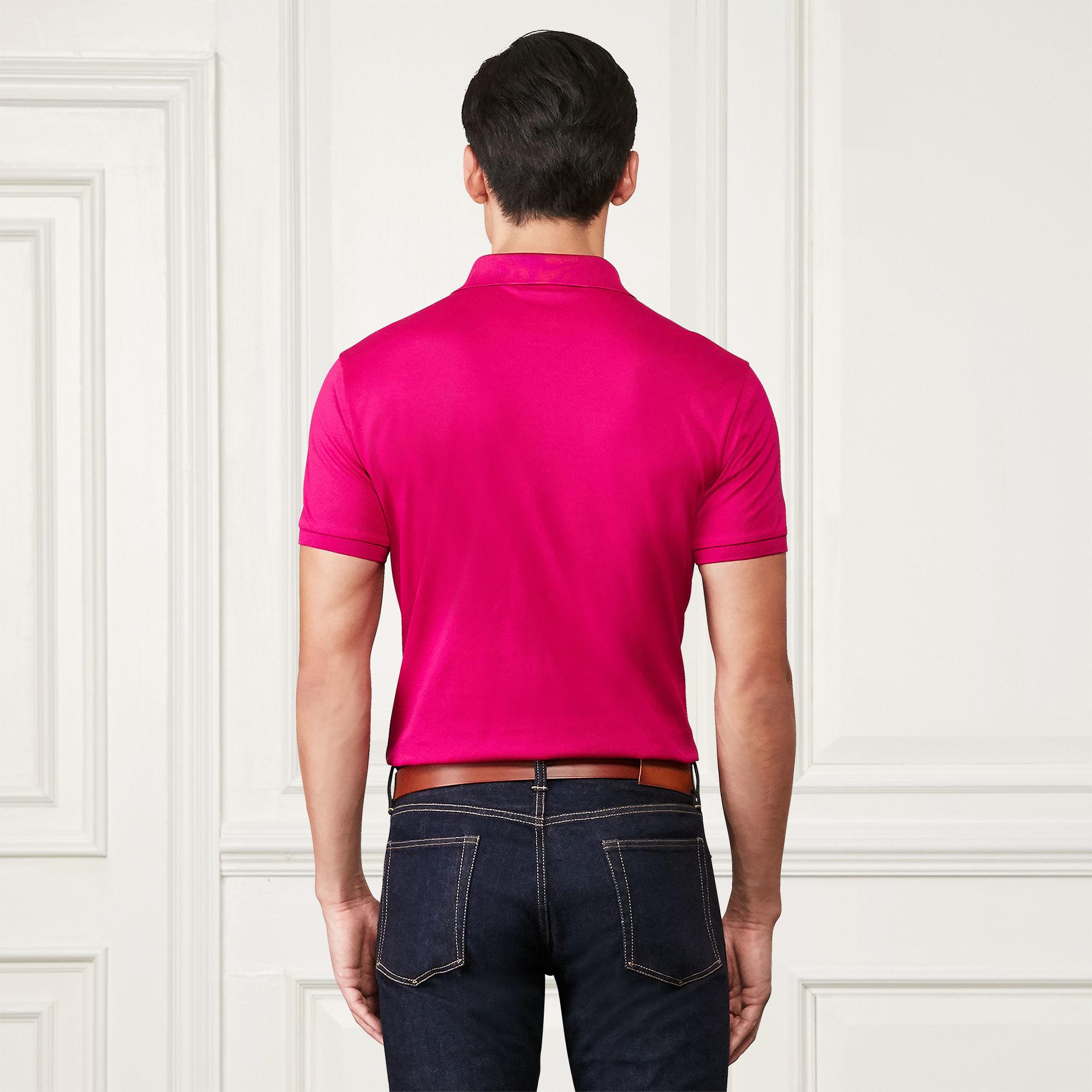 Ralph lauren purple label custom fit piqu polo shirt in for Ralph lauren black label polo shirt