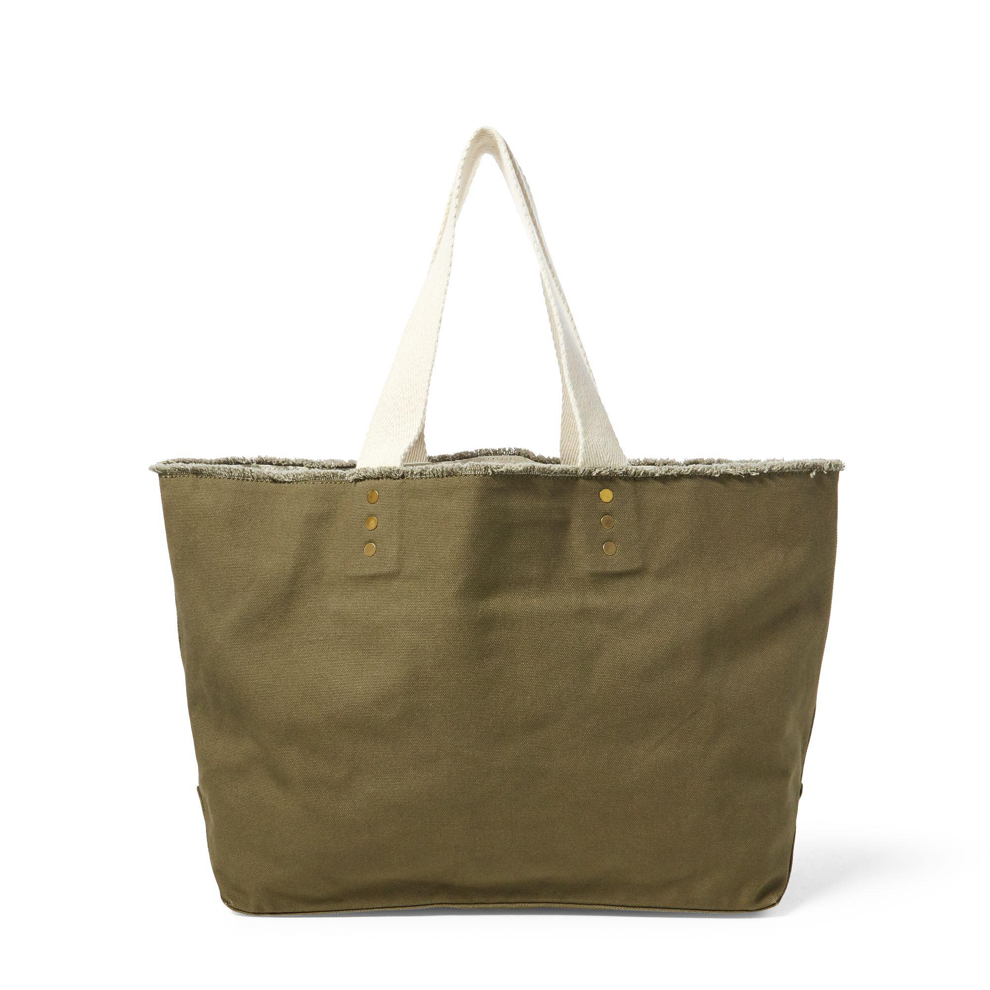 d62a5ddf39e Polo Ralph Lauren Tiger-embroidered Canvas Tote in Green - Lyst