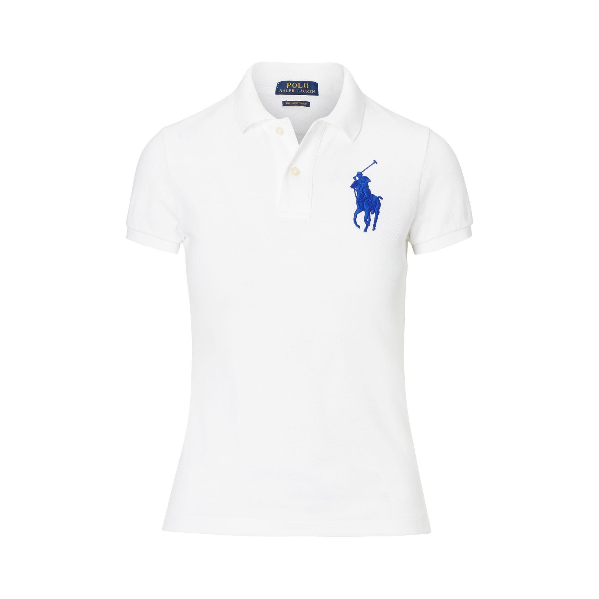 Shirt Women's Fit Big White Polo Pony Skinny LzMSGqUVp