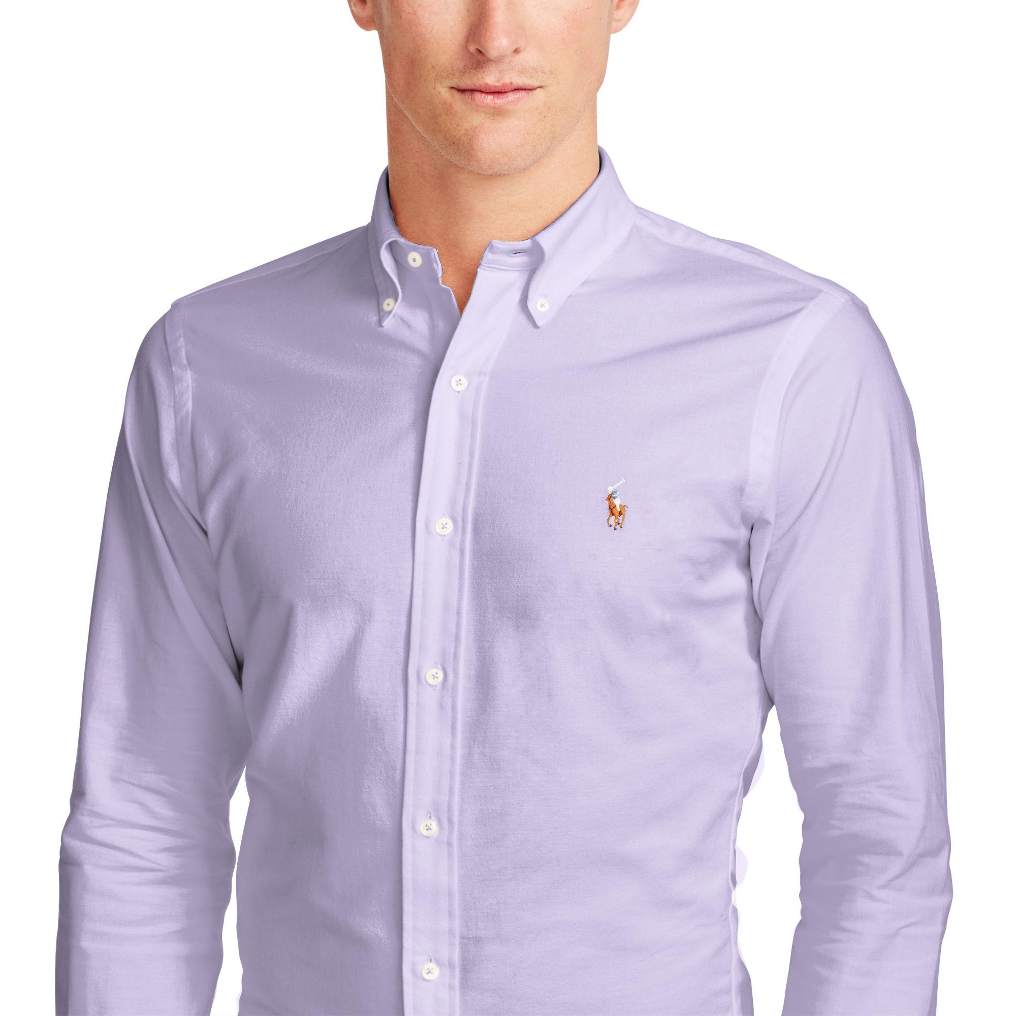polo ralph lauren slim fit stretch oxford shirt in purple. Black Bedroom Furniture Sets. Home Design Ideas
