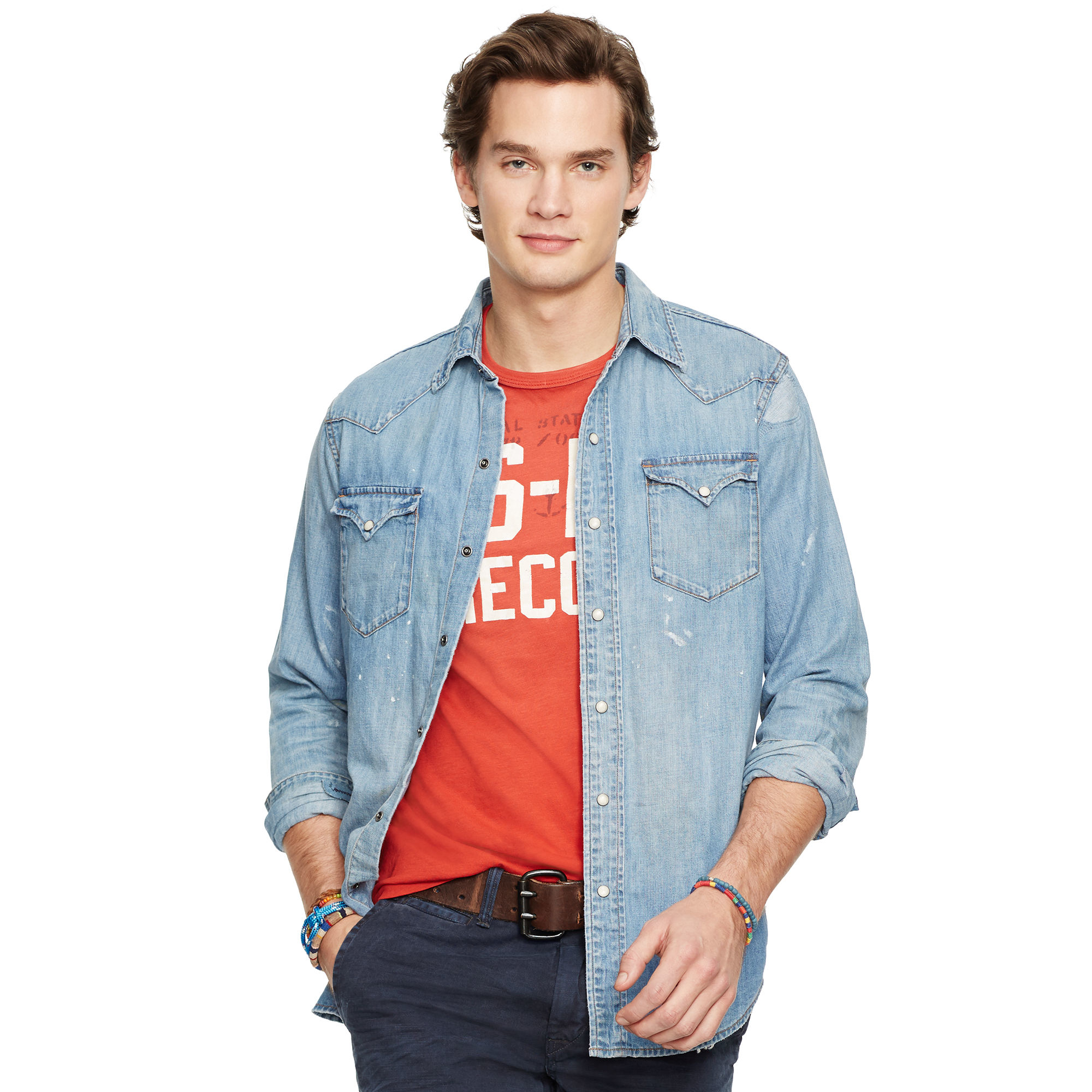f4a4db82fef Polo Ralph Lauren Distressed Denim Western Shirt in Blue for Men - Lyst