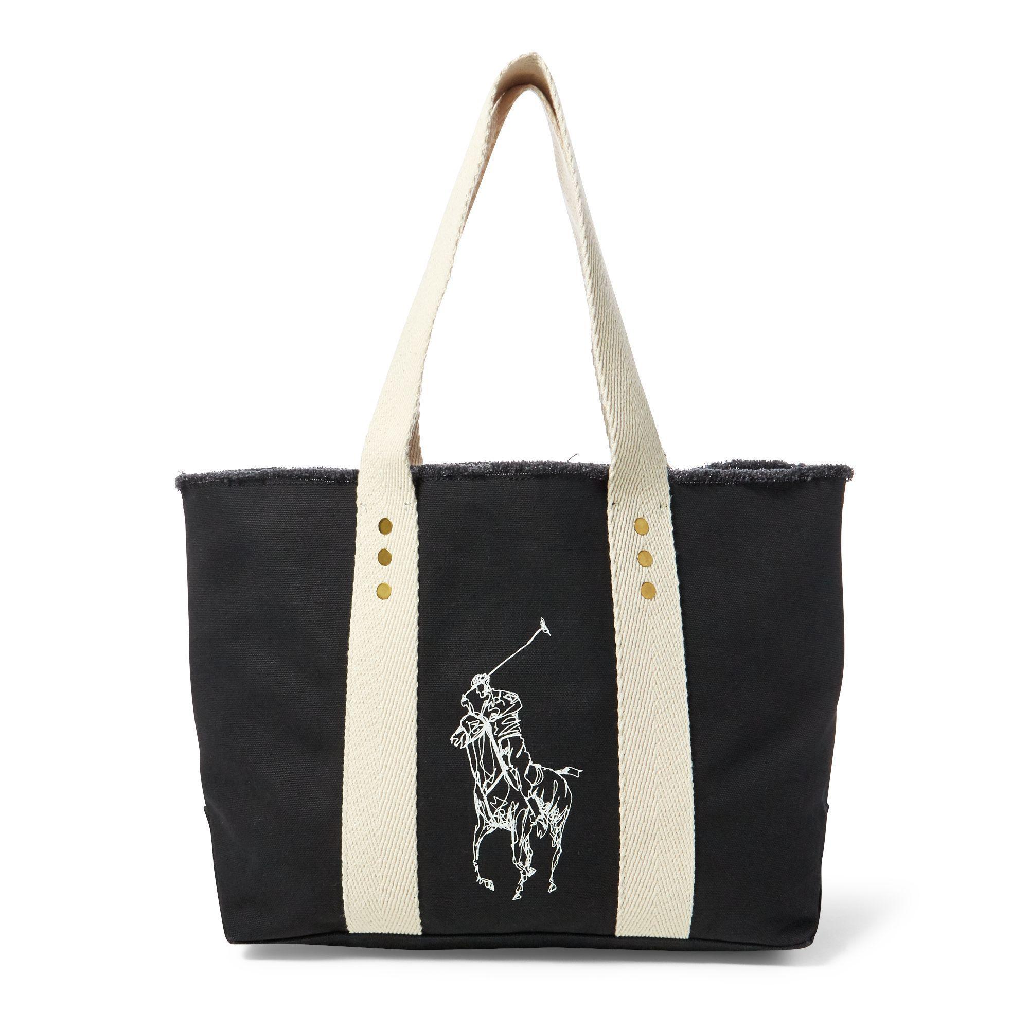 ... czech polo ralph lauren canvas big pony medium tote in black lyst d8694  d3514 73ce46b804a35