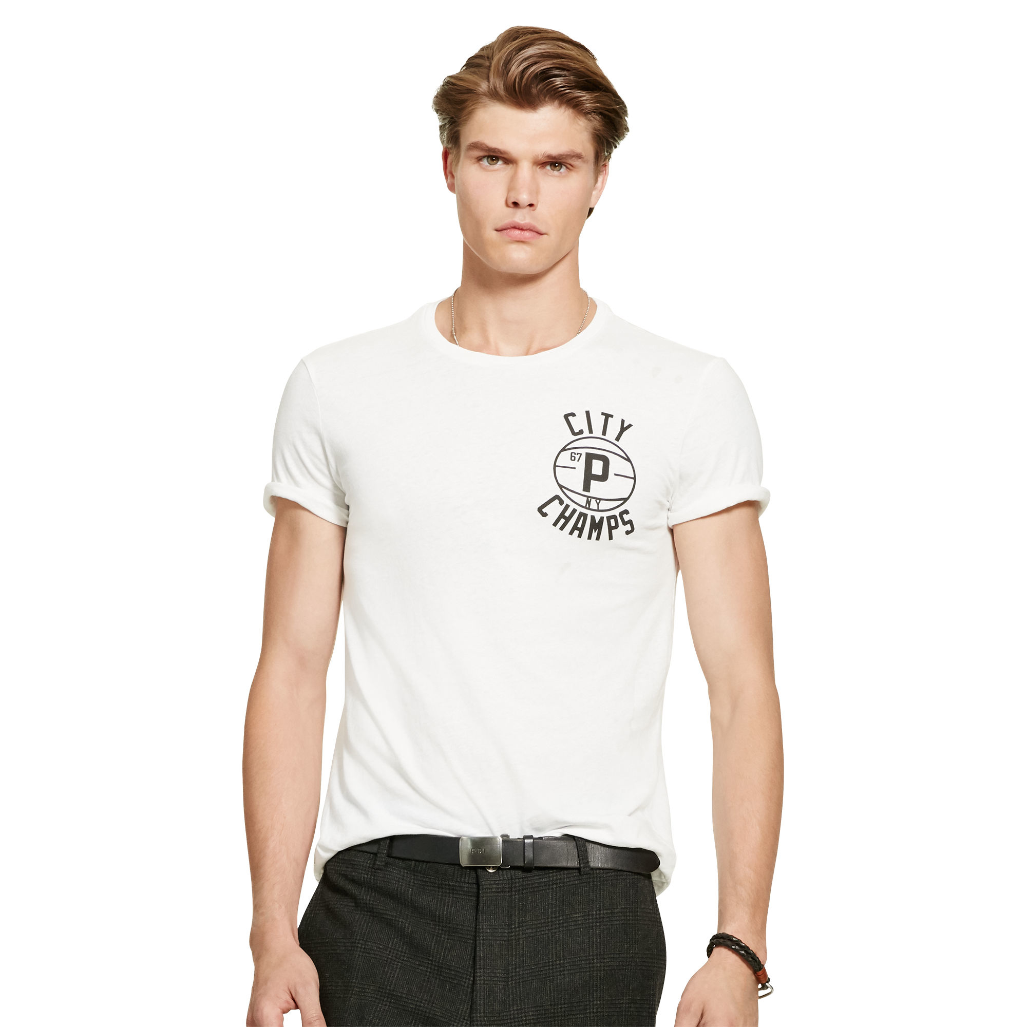 Lyst polo ralph lauren custom fit cotton t shirt in for Polo custom fit t shirts