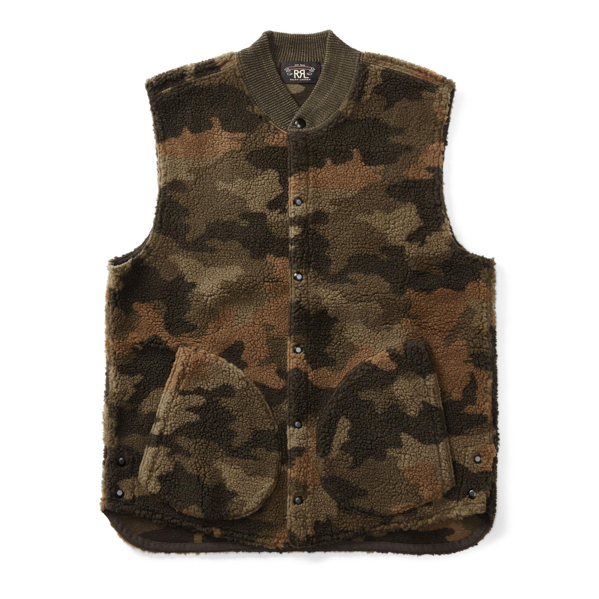 Rrl Camo Fleece Vest In Green For Men Lyst