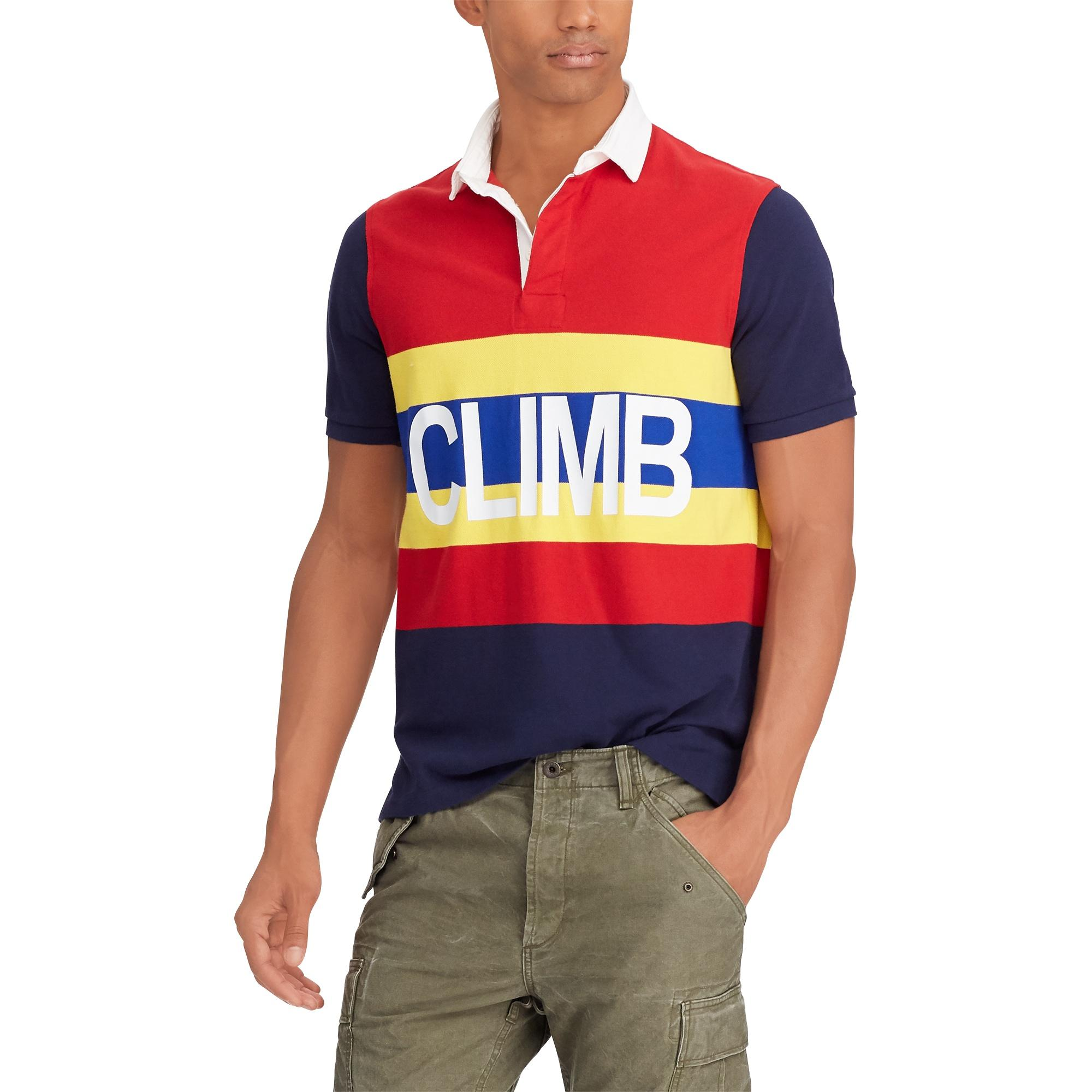 Men Red Fit Hi Tech Polo Rugby For Ralph Classic Lauren Mesh k0OwPn