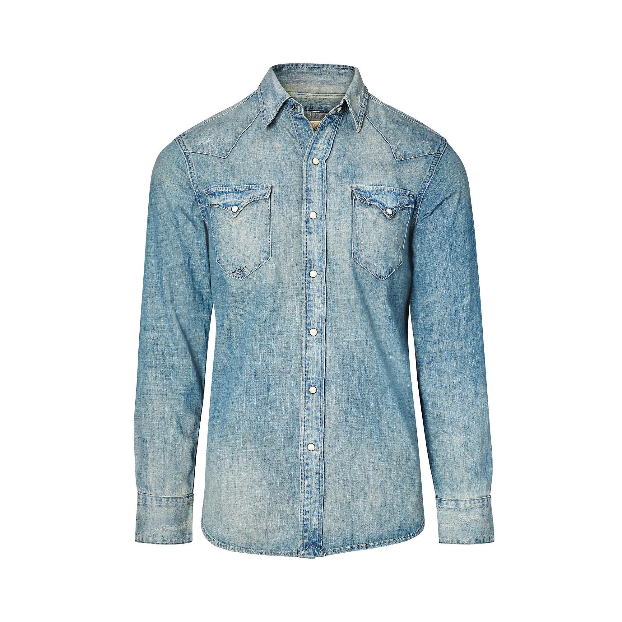ae3569b0b7f Lyst - Polo Ralph Lauren Distressed Denim Western Shirt in Blue for Men