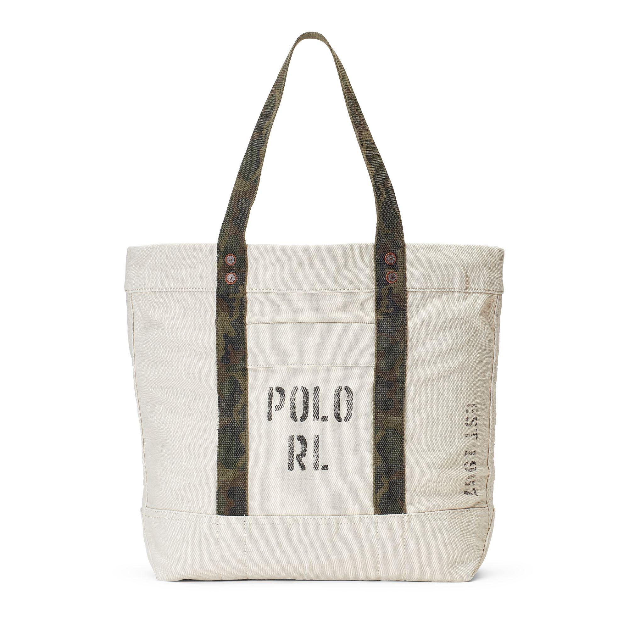 9c87f9aa79 Lyst - Polo Ralph Lauren Faded-text Canvas Tote Bag in Natural ...