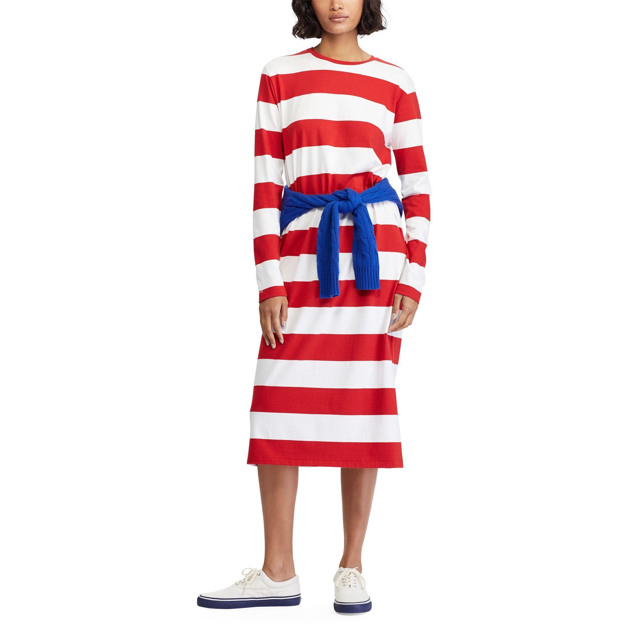 d0c61421c914a Robe t-shirt rayée mi-longue femme de coloris rouge