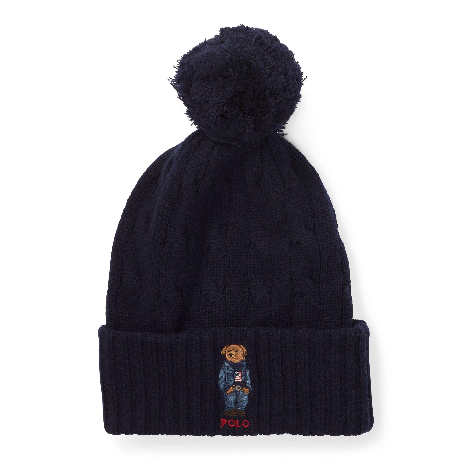 1b9e7b1e5facae Polo Ralph Lauren Polo Bear Pom-pom Hat in Blue - Lyst