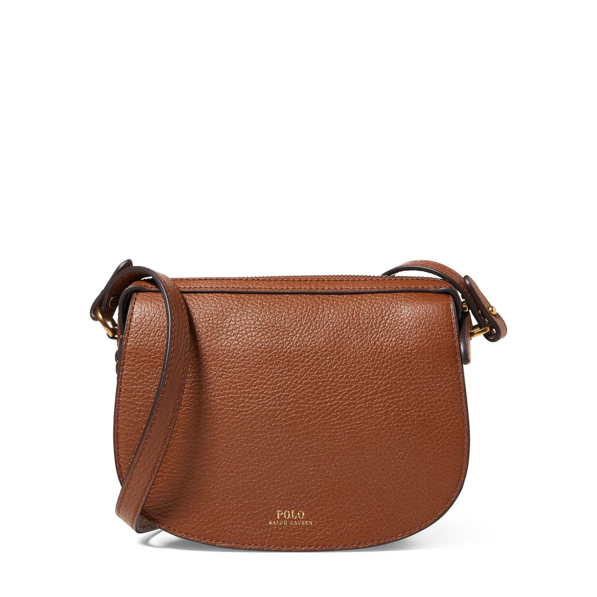 3a83181809 Polo Ralph Lauren Leather Mini Crossbody Bag in Brown - Lyst