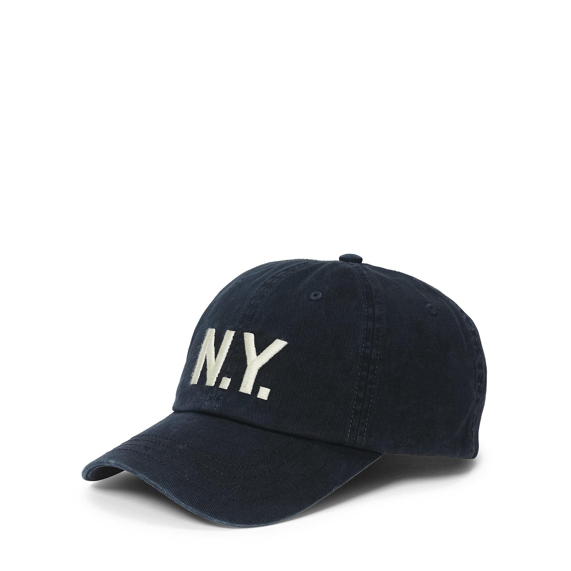 polo ralph lauren n y chino baseball cap in black for men. Black Bedroom Furniture Sets. Home Design Ideas