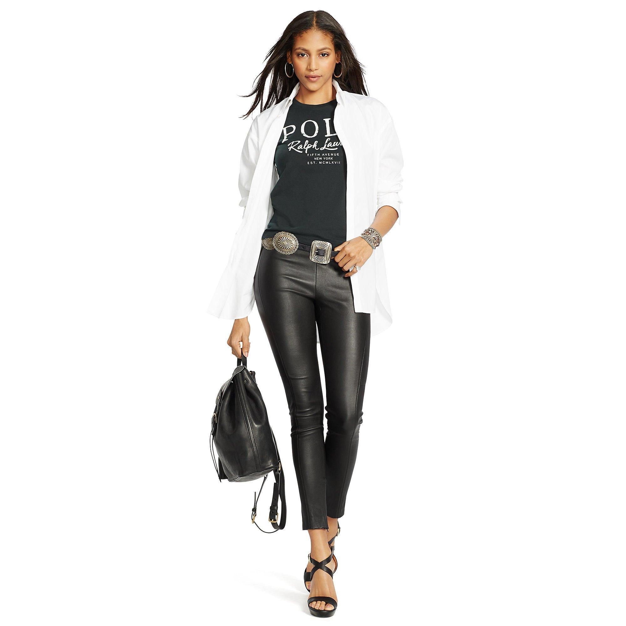 f0a7be753a31 Lyst - Polo Ralph Lauren High-low Hem Poplin Shirt in White