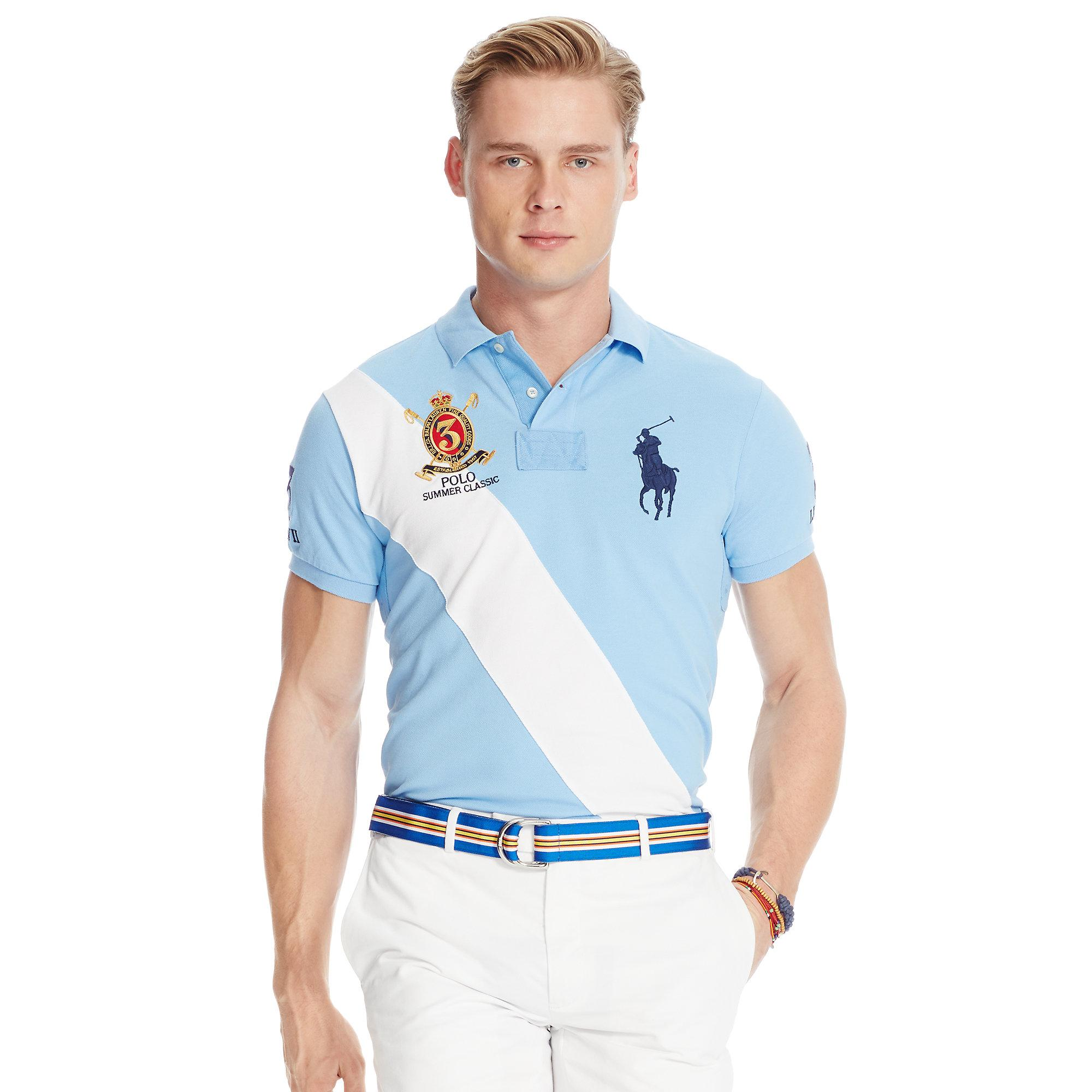 04c47d293f0 ... france lyst polo ralph lauren custom fit banner polo shirt in blue for  men 26a54 be951