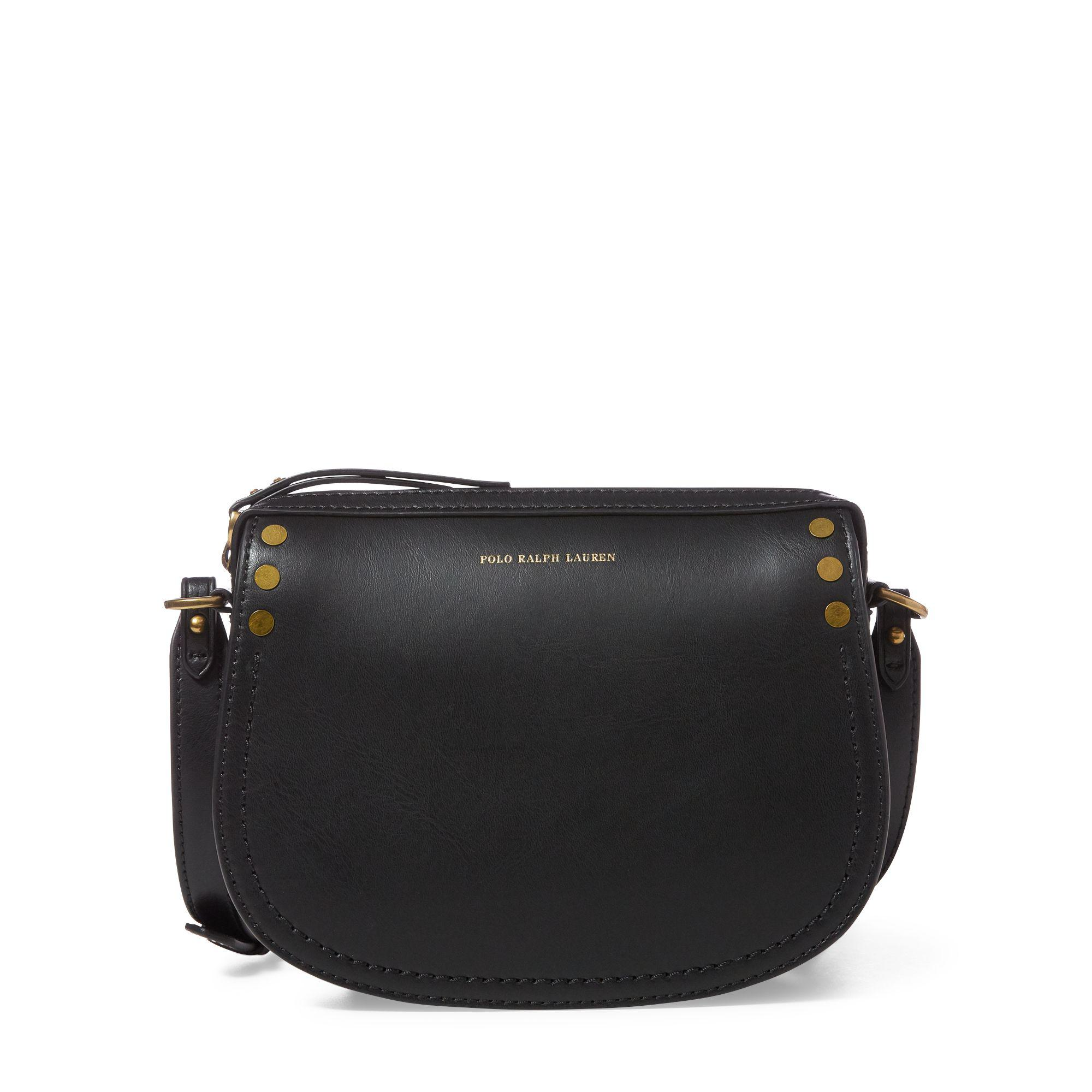 f2702aede66c Polo Ralph Lauren Calfskin Crossbody Bag in Black - Lyst