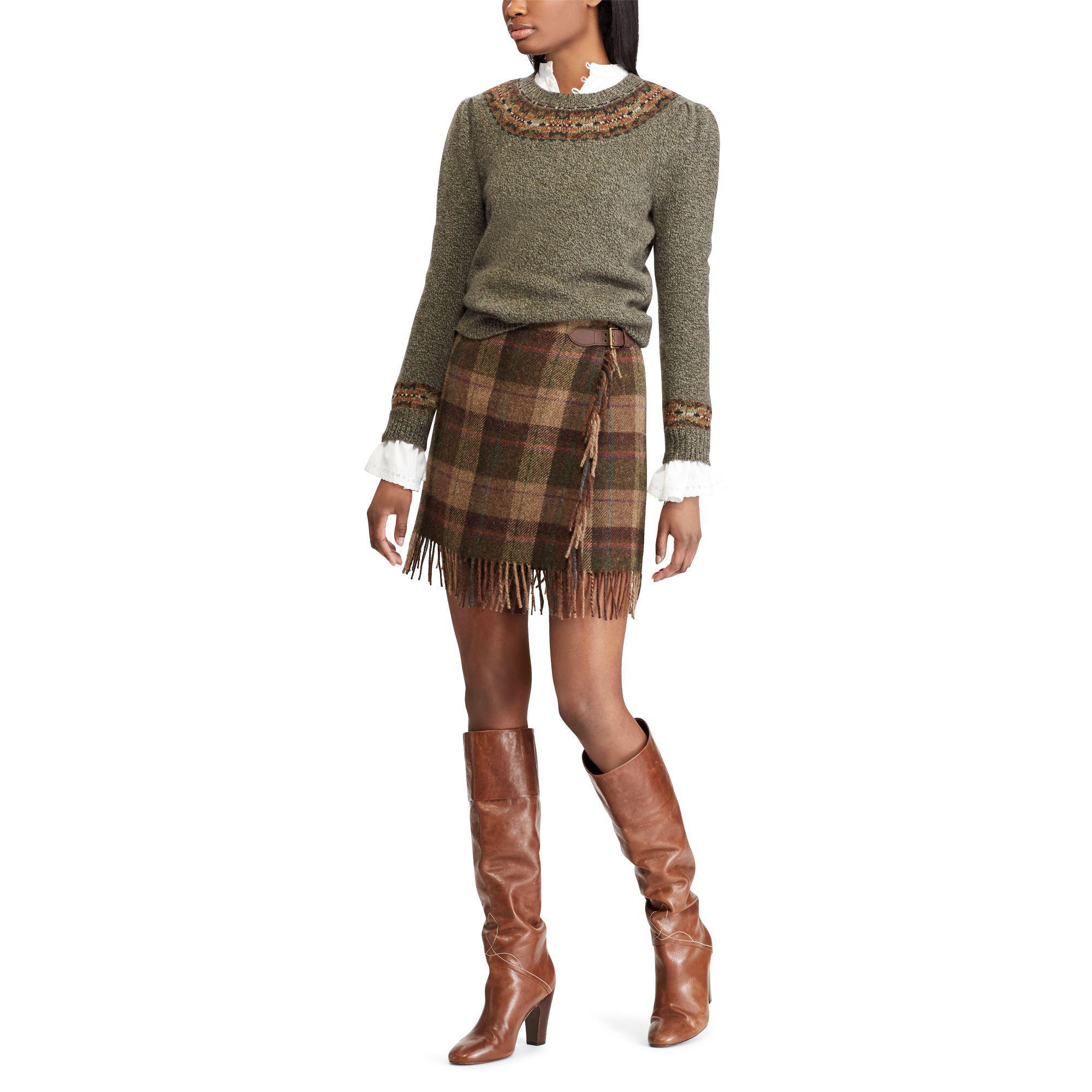 Polo Ralph Lauren Full Wrap Skirt Tie Side Bow Blue Green Tartan Plaid