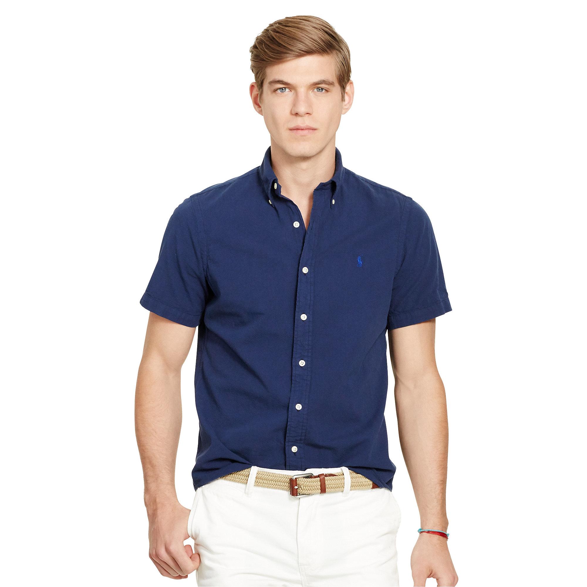 Polo Ralph Lauren Slim Cotton Seersucker Shirt In Blue For Men Lyst