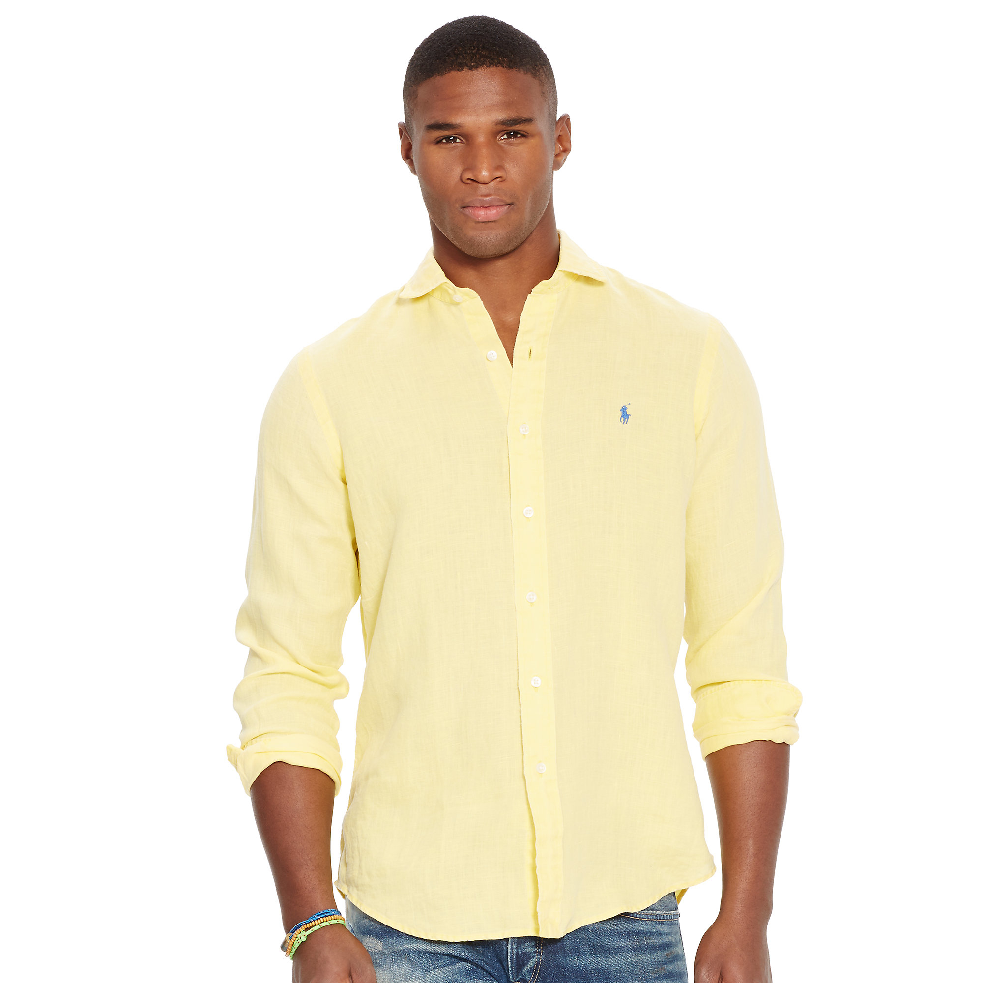 37ede0689230 Lyst - Polo Ralph Lauren Slim Fit Shirt in Yellow for Men