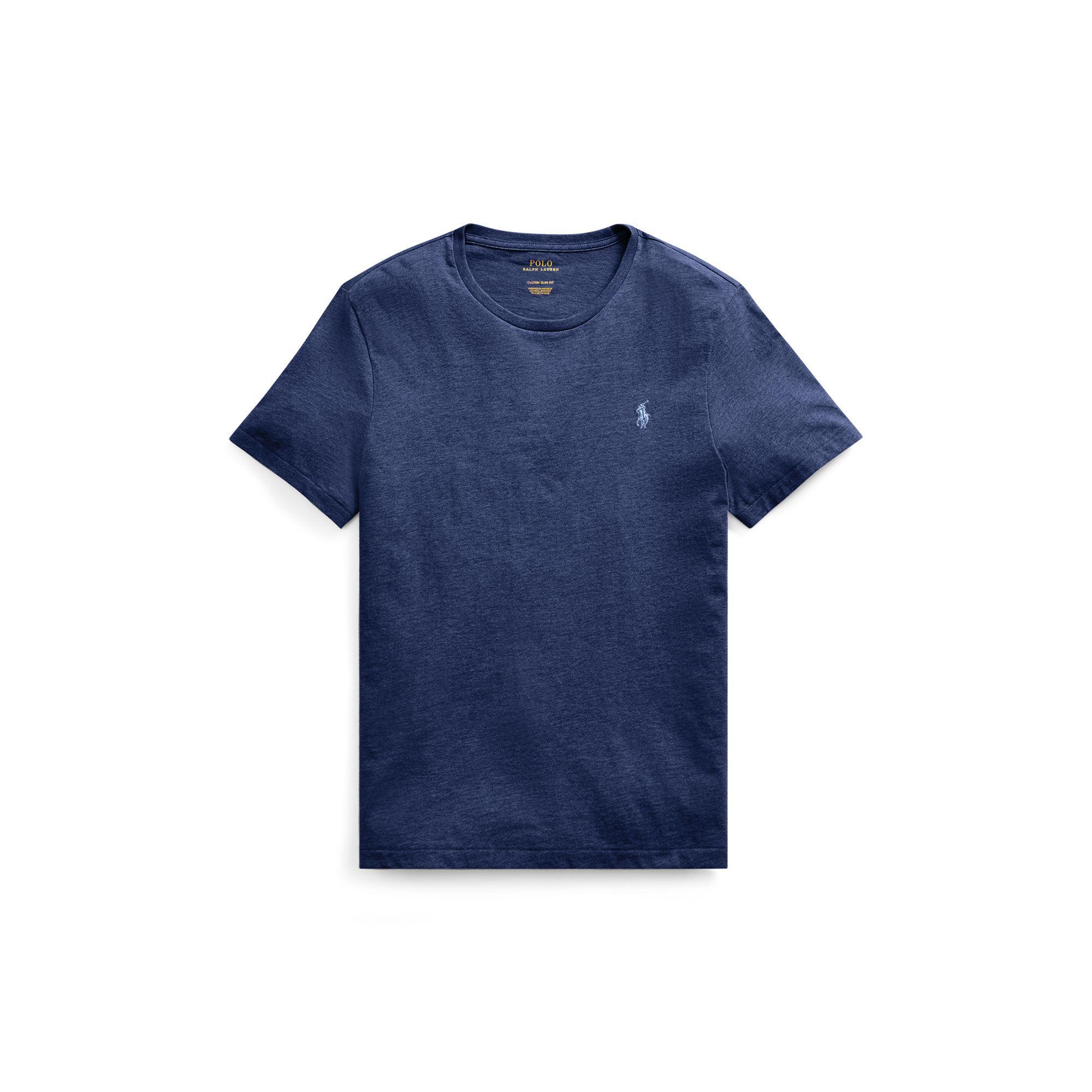polo ralph lauren custom slim fit cotton t shirt in blue