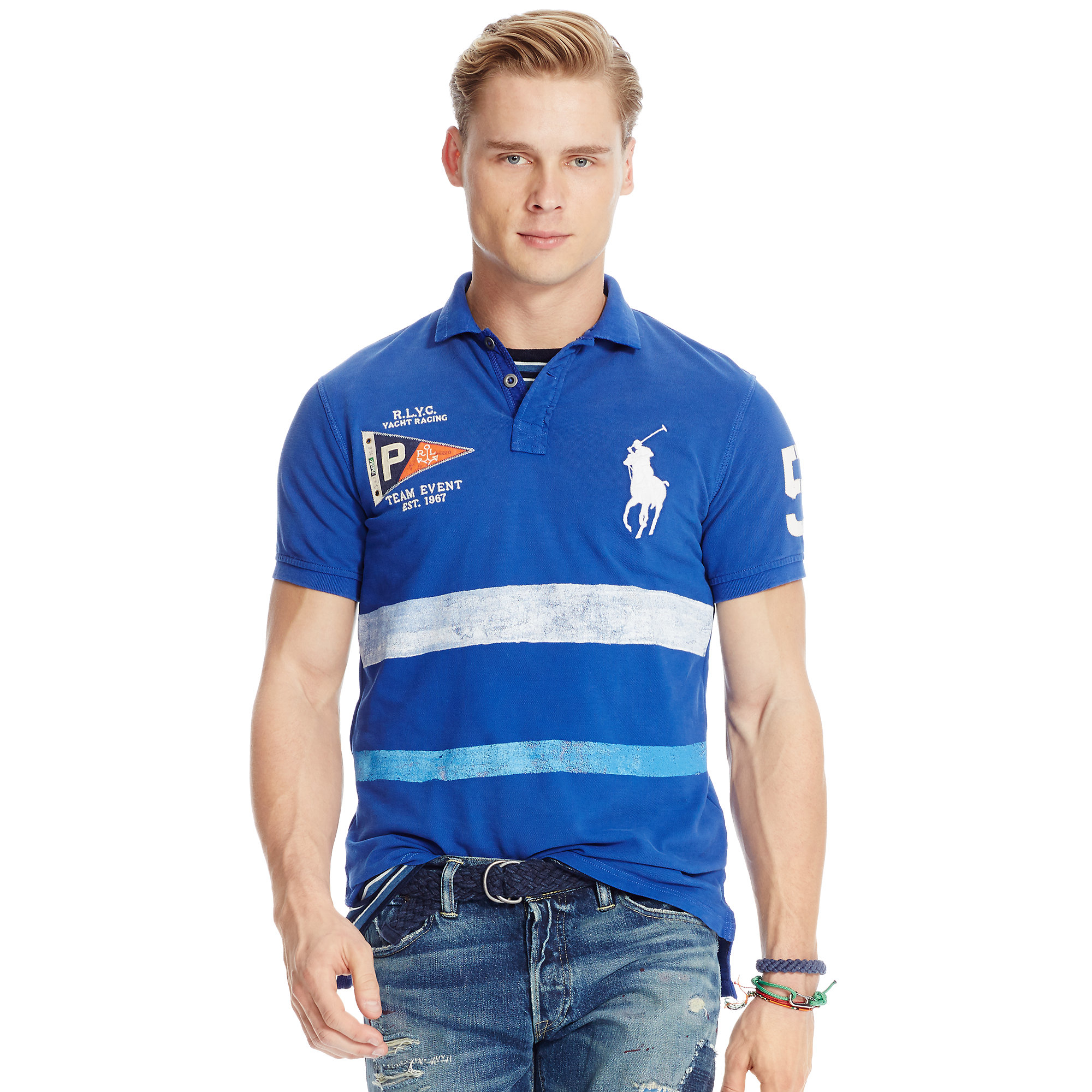 Polo Ralph Lauren | Blue Custom-fit Nautical Polo Shirt for Men | Lyst. View Fullscreen
