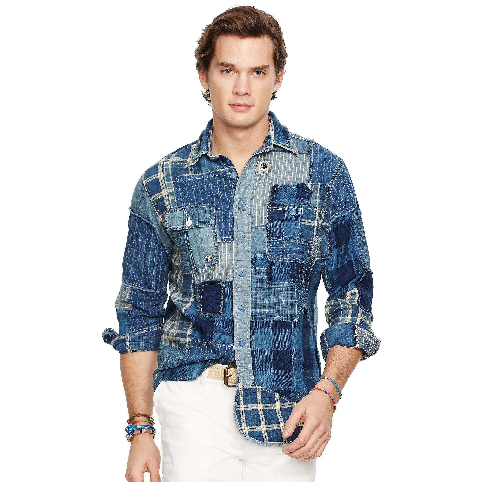 b0d3360b Polo Ralph Lauren Indigo Patchwork Sport Shirt in Blue for Men - Lyst