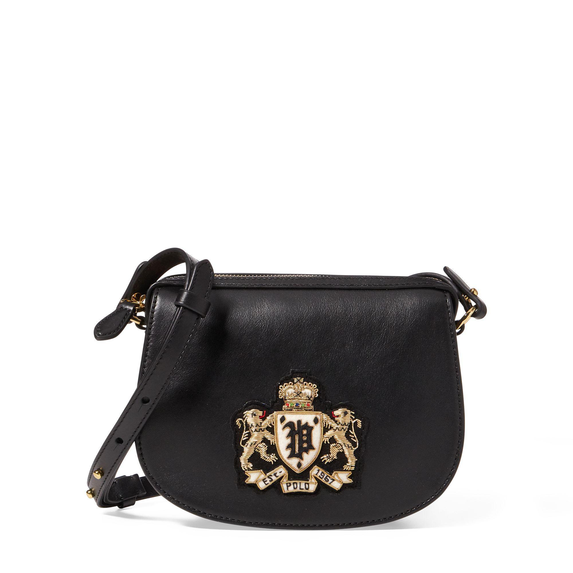 Lyst - Polo Ralph Lauren Bullion-patch Leather Mini Bag in Black 21a158b6a4494