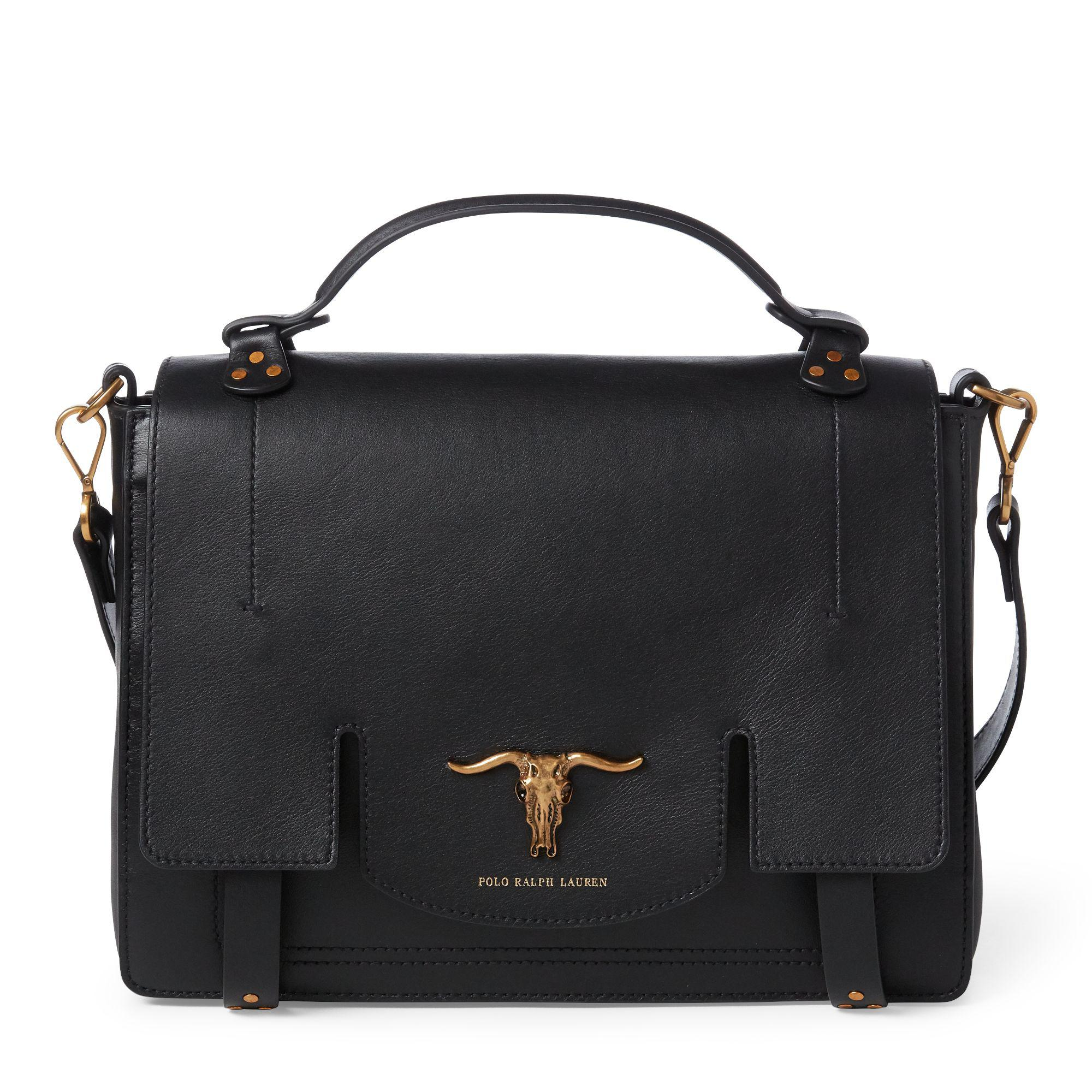 6b0512d138 Polo Ralph Lauren Leather Schooly Bag in Black - Lyst