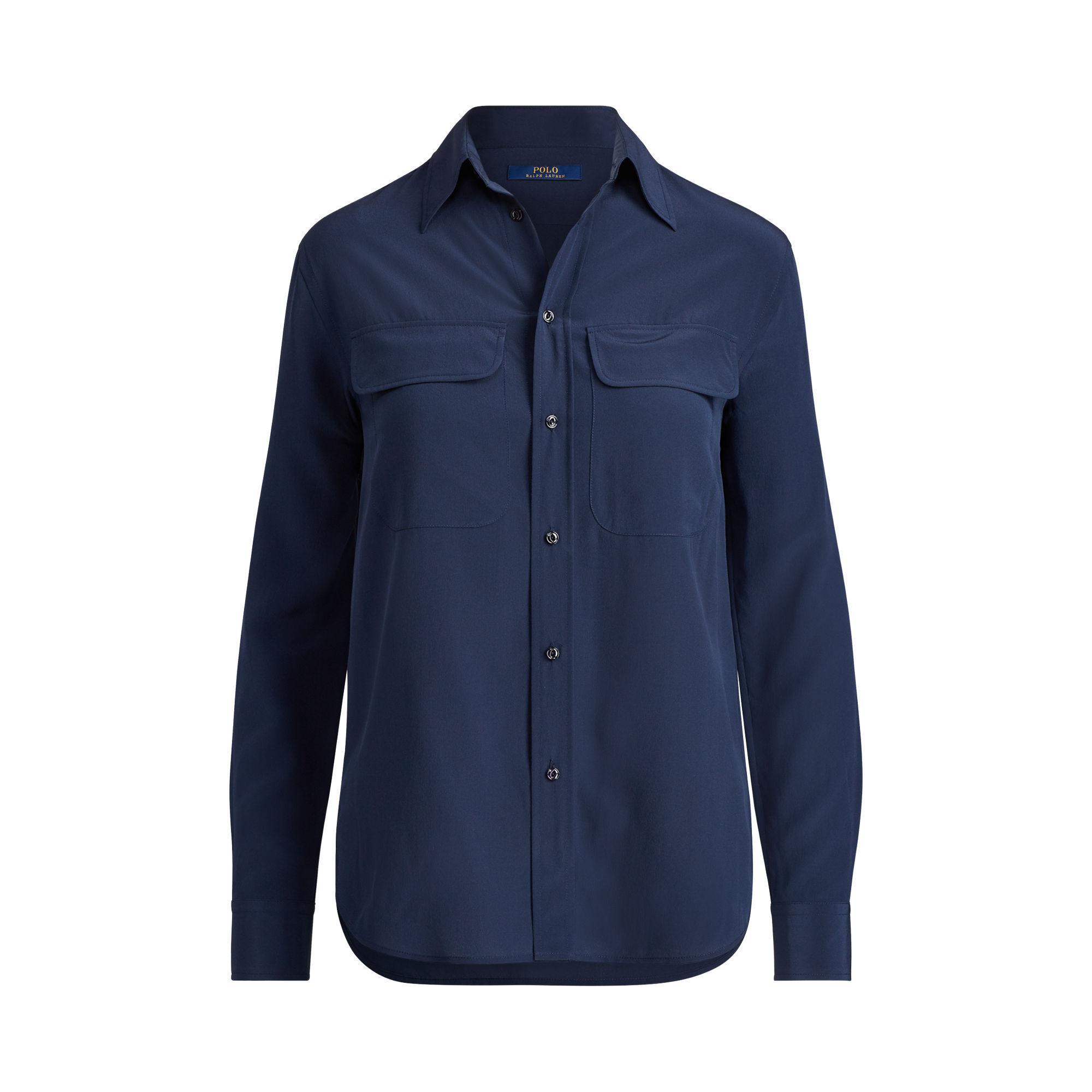 Polo Ralph Lauren Silk Crepe Button Down Shirt In Blue Lyst