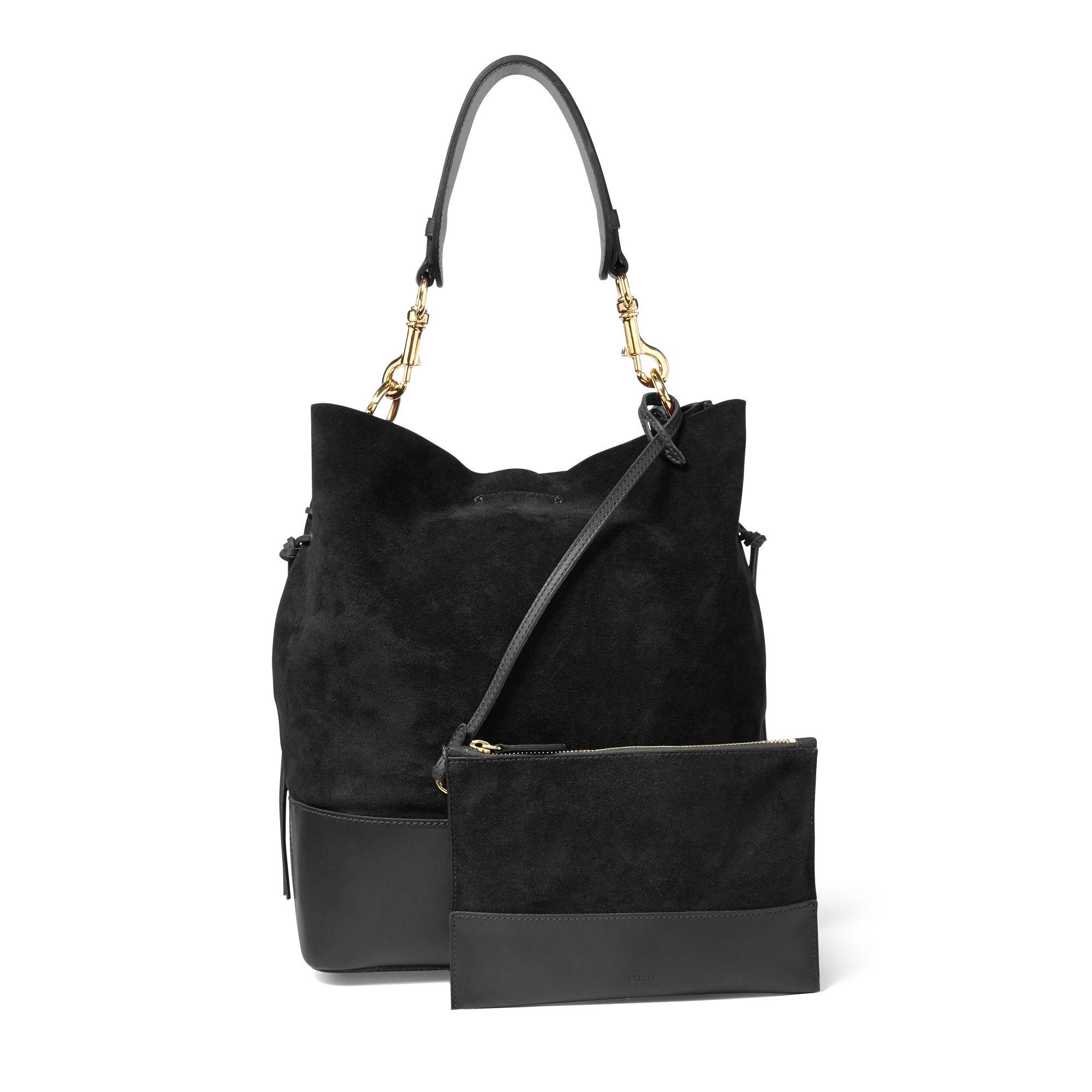 Lyst - Polo Ralph Lauren Suede Square Hobo Bag in Black f43ba90099