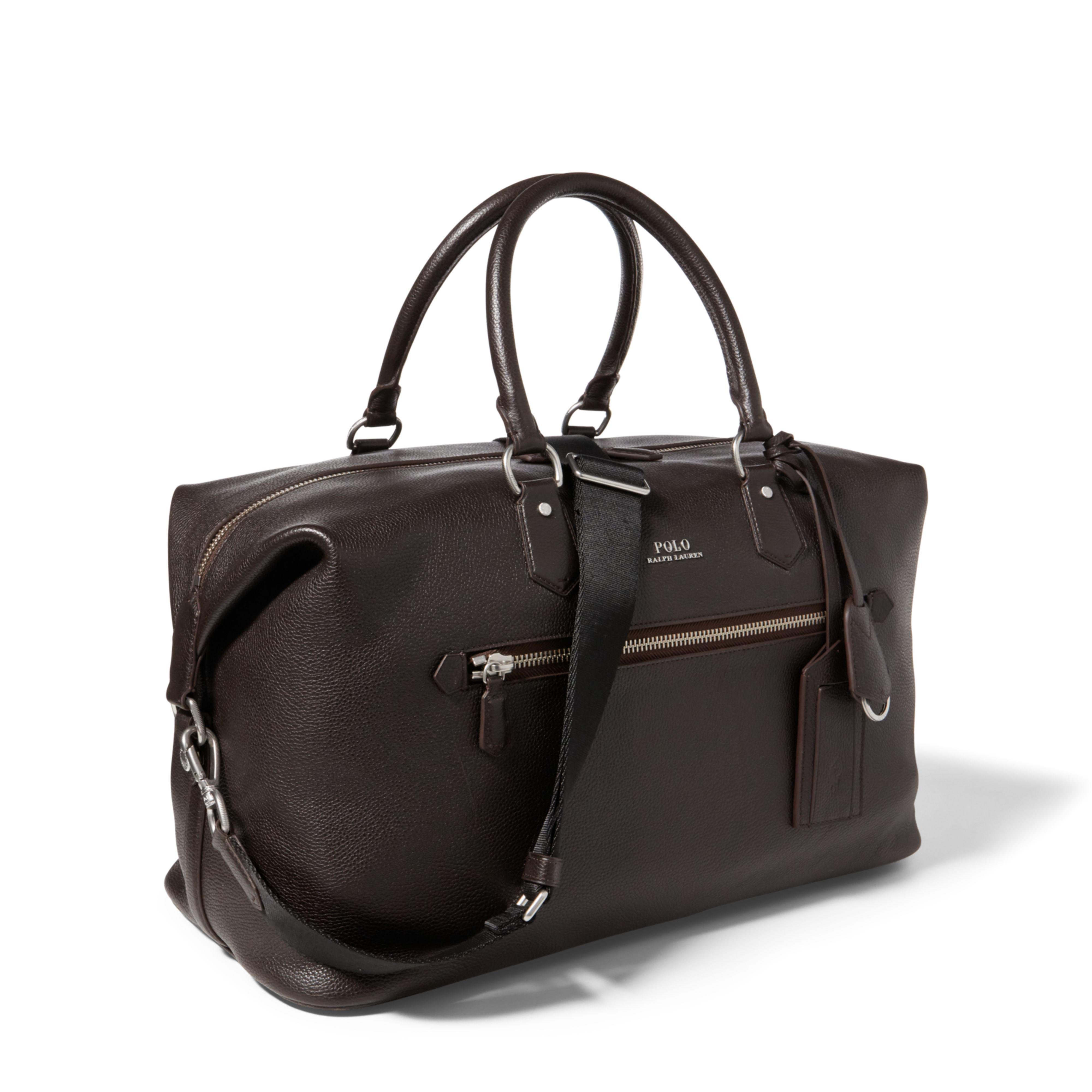 ffec47a9a7 ... shop polo ralph lauren brown pebbled leather duffel bag lyst. view  fullscreen 3d804 ffc1b