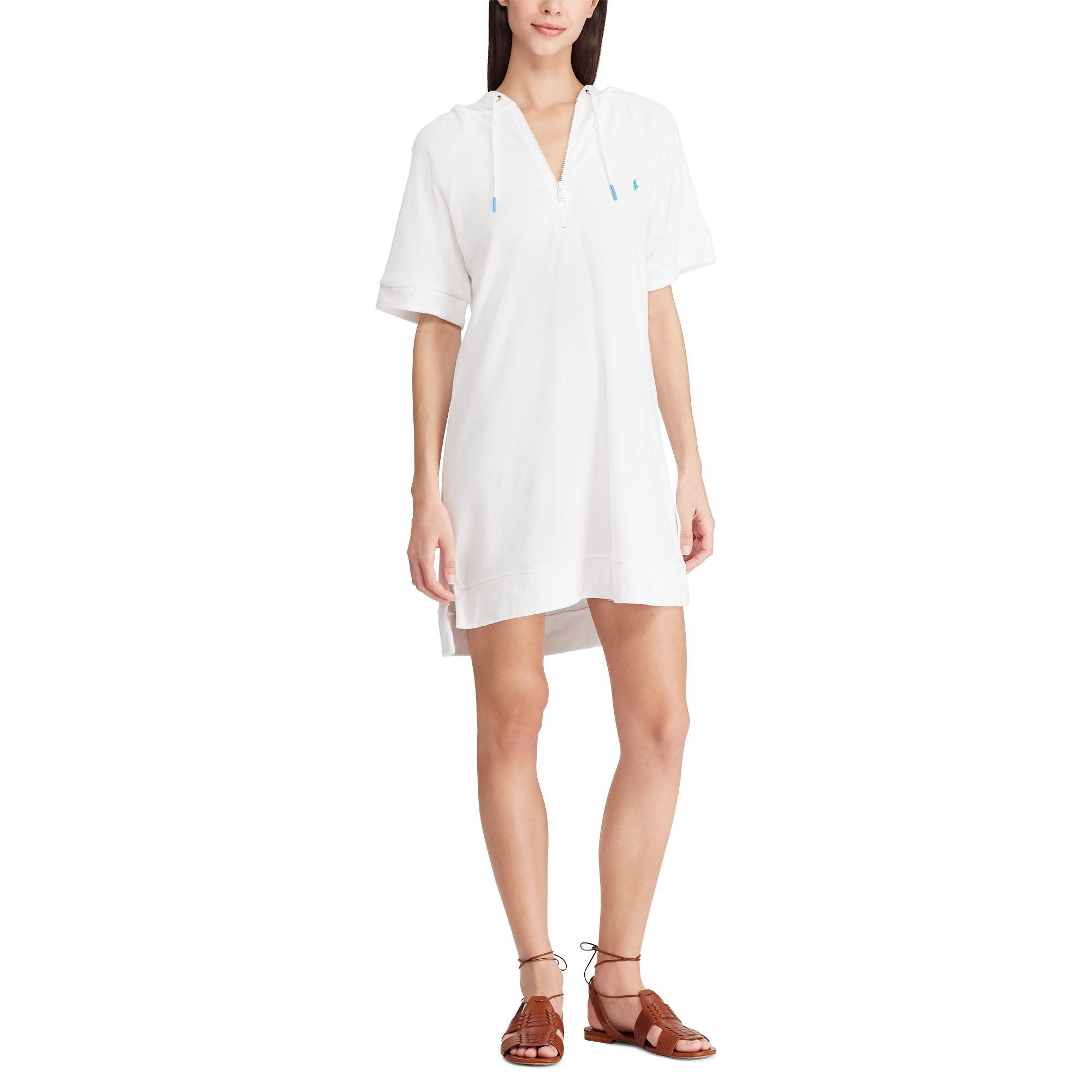 9c63ebeaaeda2 Lyst - Polo Ralph Lauren French Terry Hoodie Dress in White
