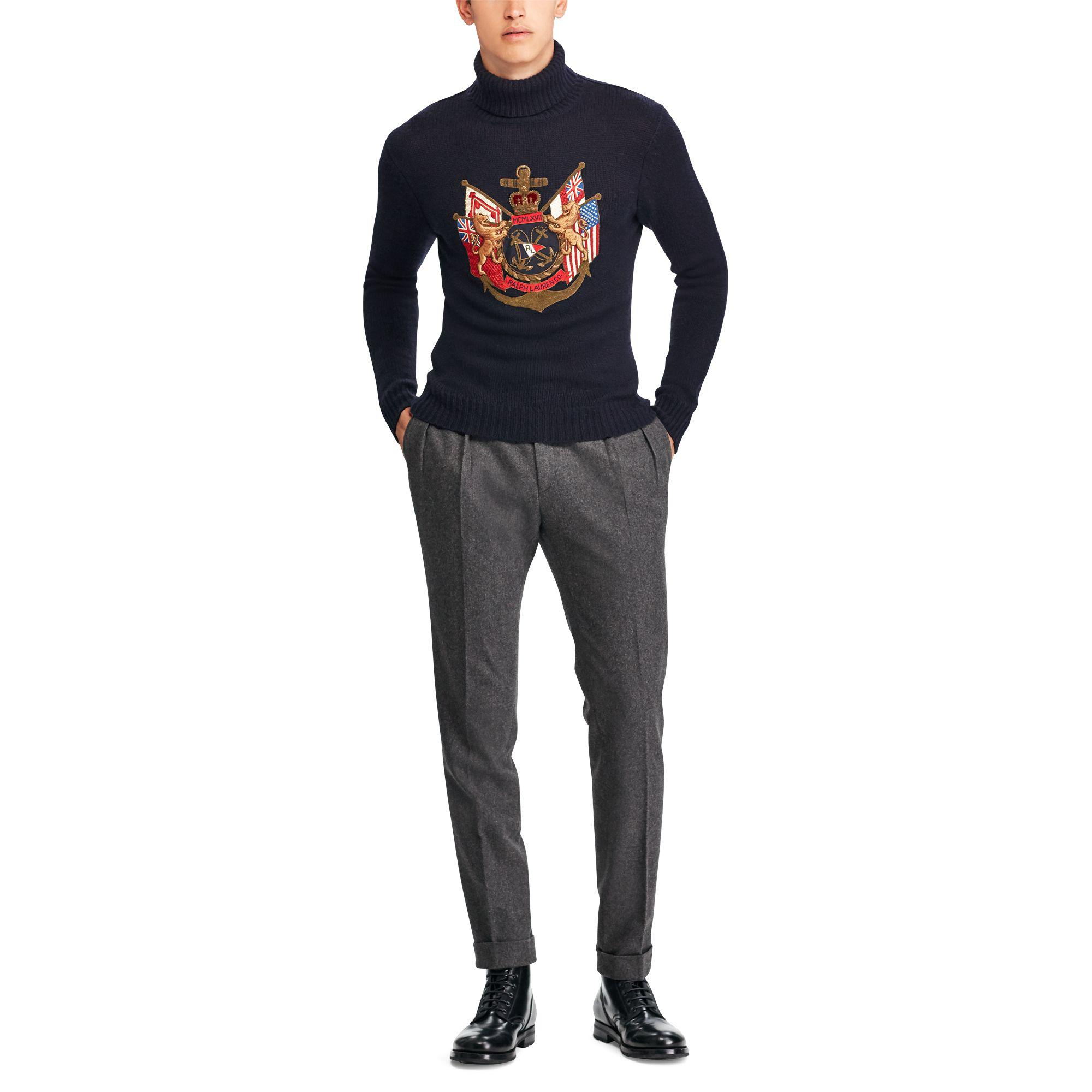 d6effa61a407 Lyst - Ralph Lauren Purple Label Bullion-patch Cashmere Sweater in ...