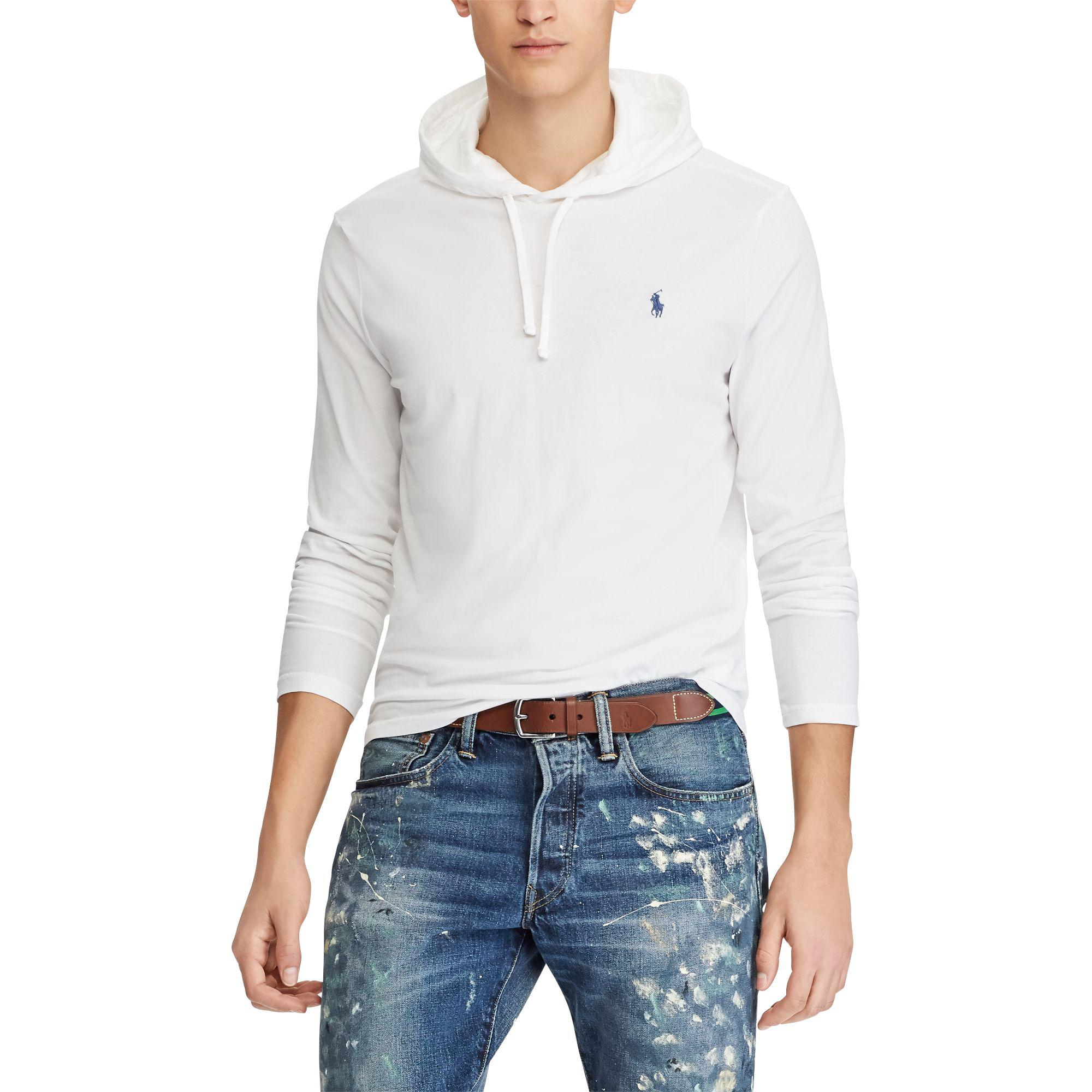 ddc3c361d Polo Ralph Lauren Cotton Jersey Hooded T-shirt in White for Men - Lyst