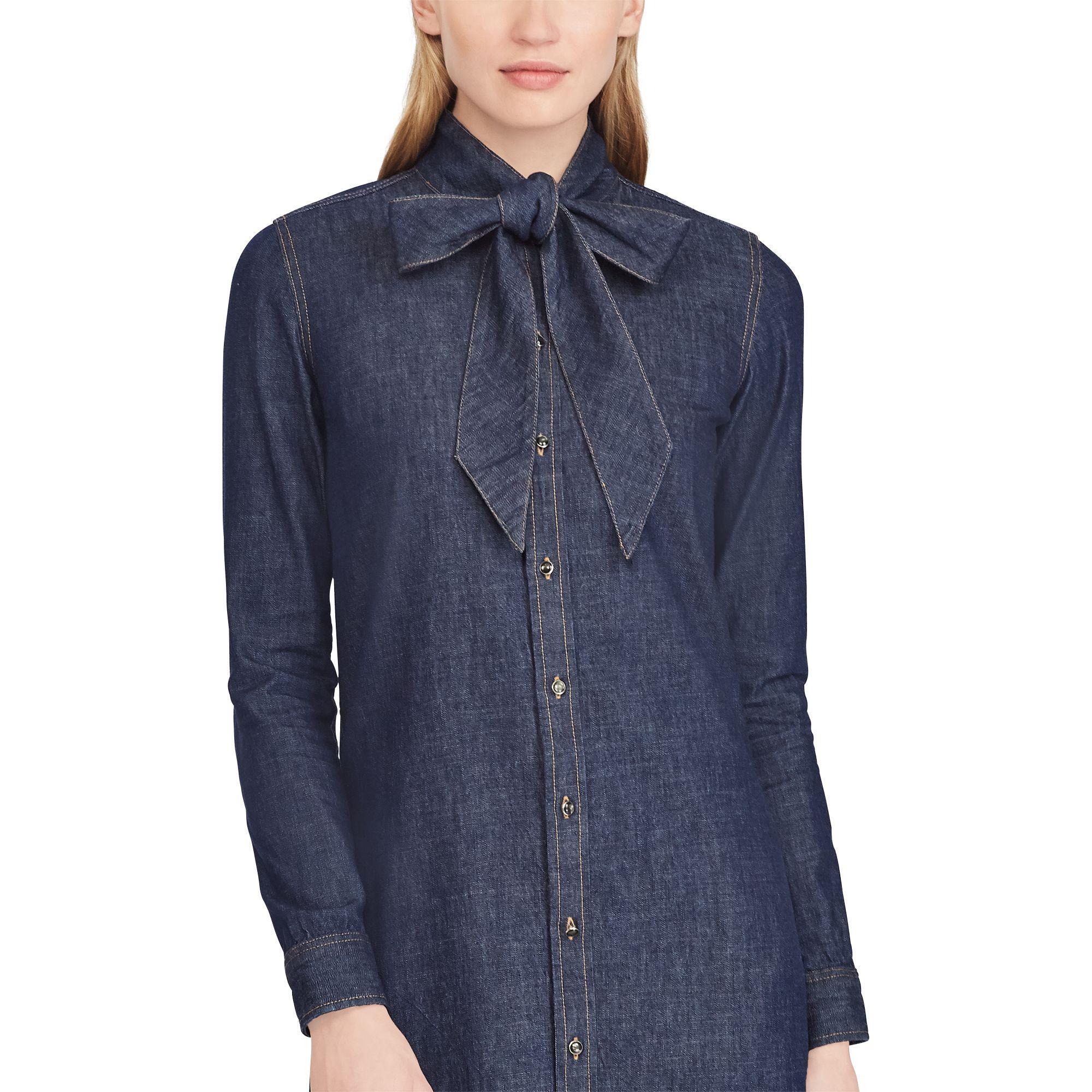 shop best sellers crazy price sneakers Ralph Lauren Tie-neck Denim Dress in Blue - Lyst