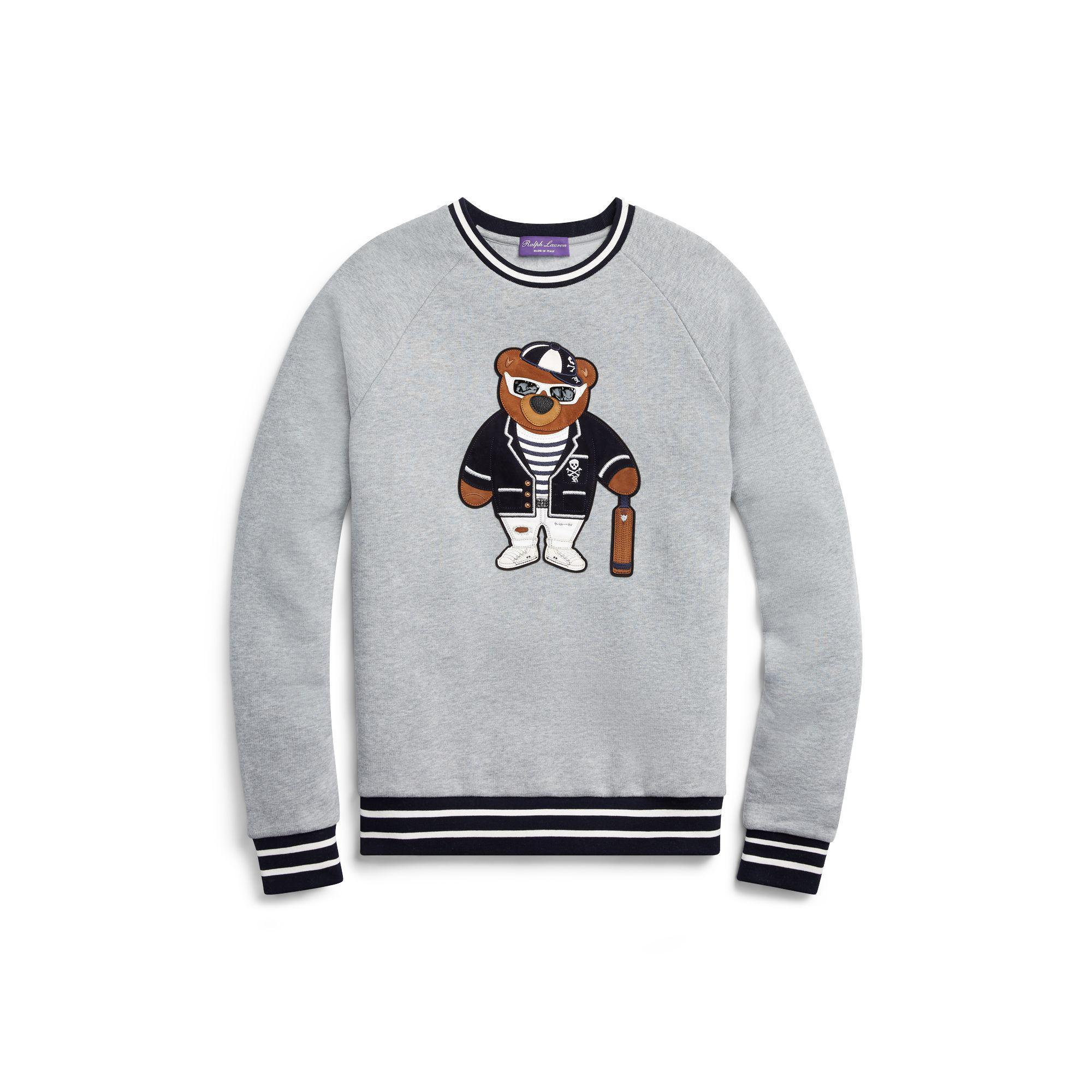 Fleece For Men Purple Lauren Ralph Gray Bear Sweatshirt Label Polo kwOPZuTXi