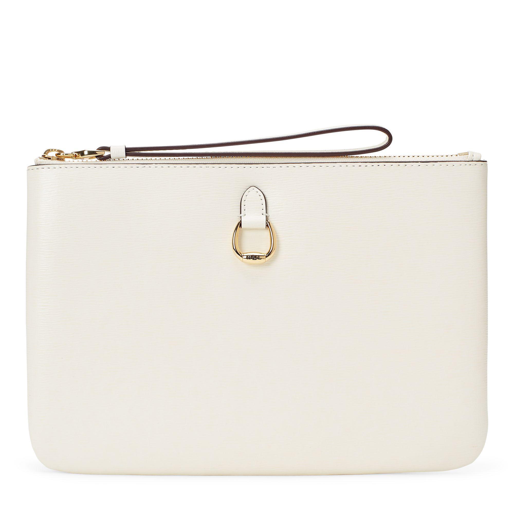 Ralph Lauren Saffiano Leather Wristlet in White - Lyst 6d1a82e74c0a2