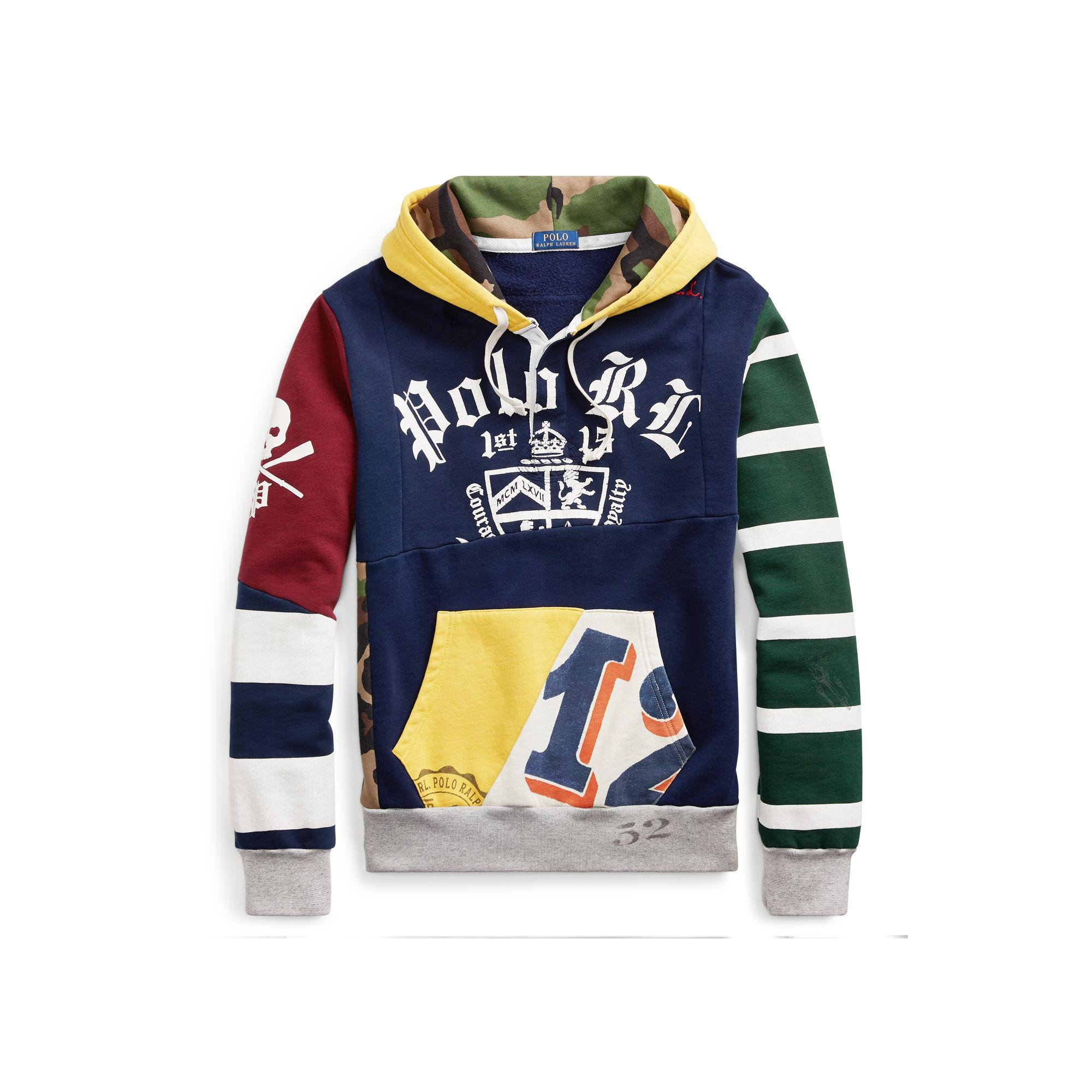 0f0c6689a71f2 Polo Ralph Lauren Patchwork Rugby Hoodie in Blue for Men - Lyst