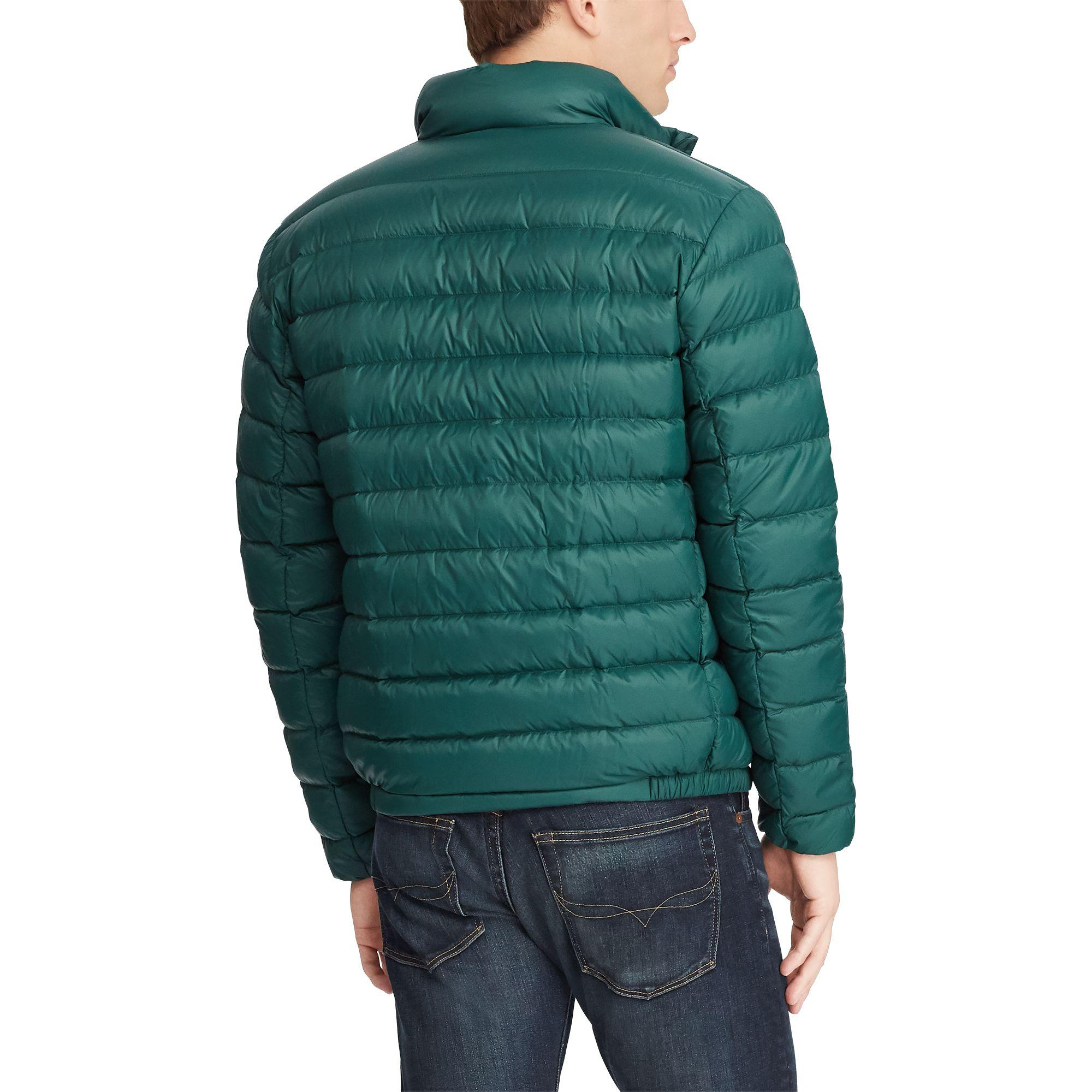 Polo Ralph Lauren Leather Packable Quilted Down Jacket In