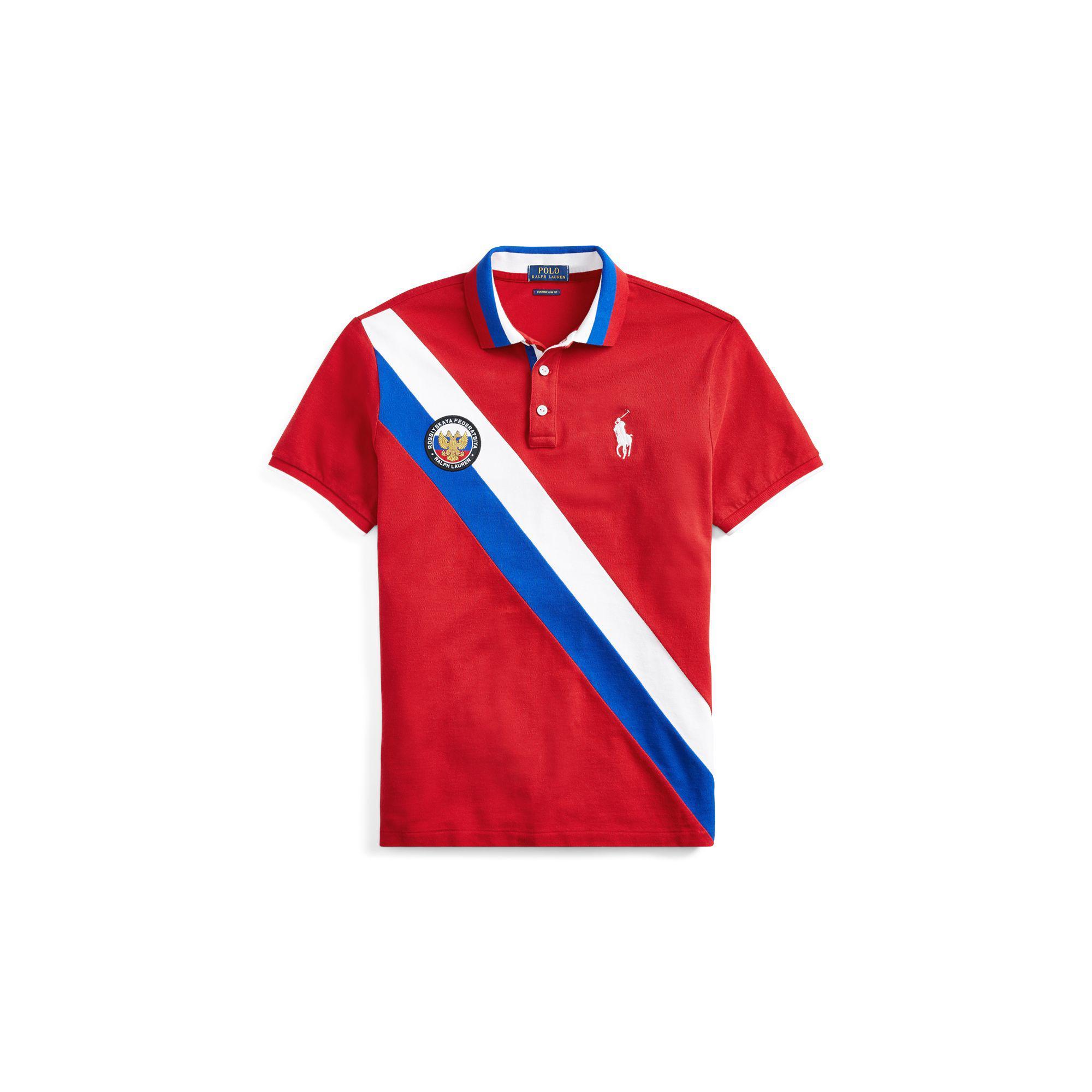 Ralph Cotton Lauren For Red Polo Men Slim Russia Fit In Custom AL34jqR5
