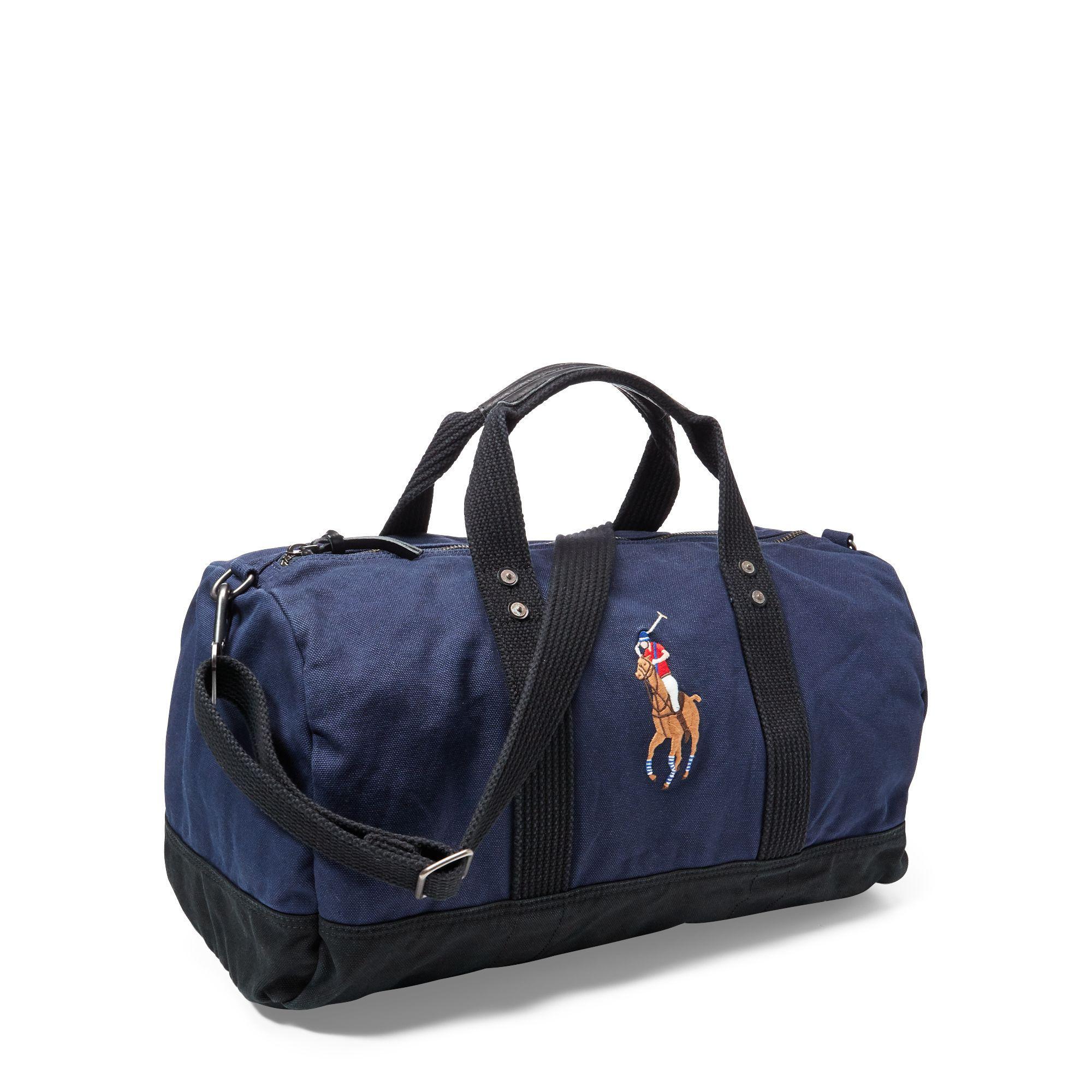 71494d507f ... shopping polo ralph lauren blue canvas big pony duffel bag for men  lyst. view fullscreen