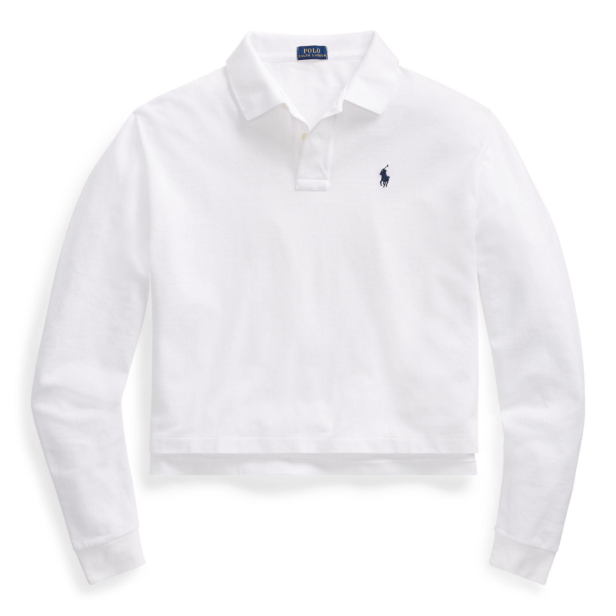 7551a3161ae60e ... uk polo ralph lauren white cropped mesh polo shirt lyst. view  fullscreen 052b4 3e169