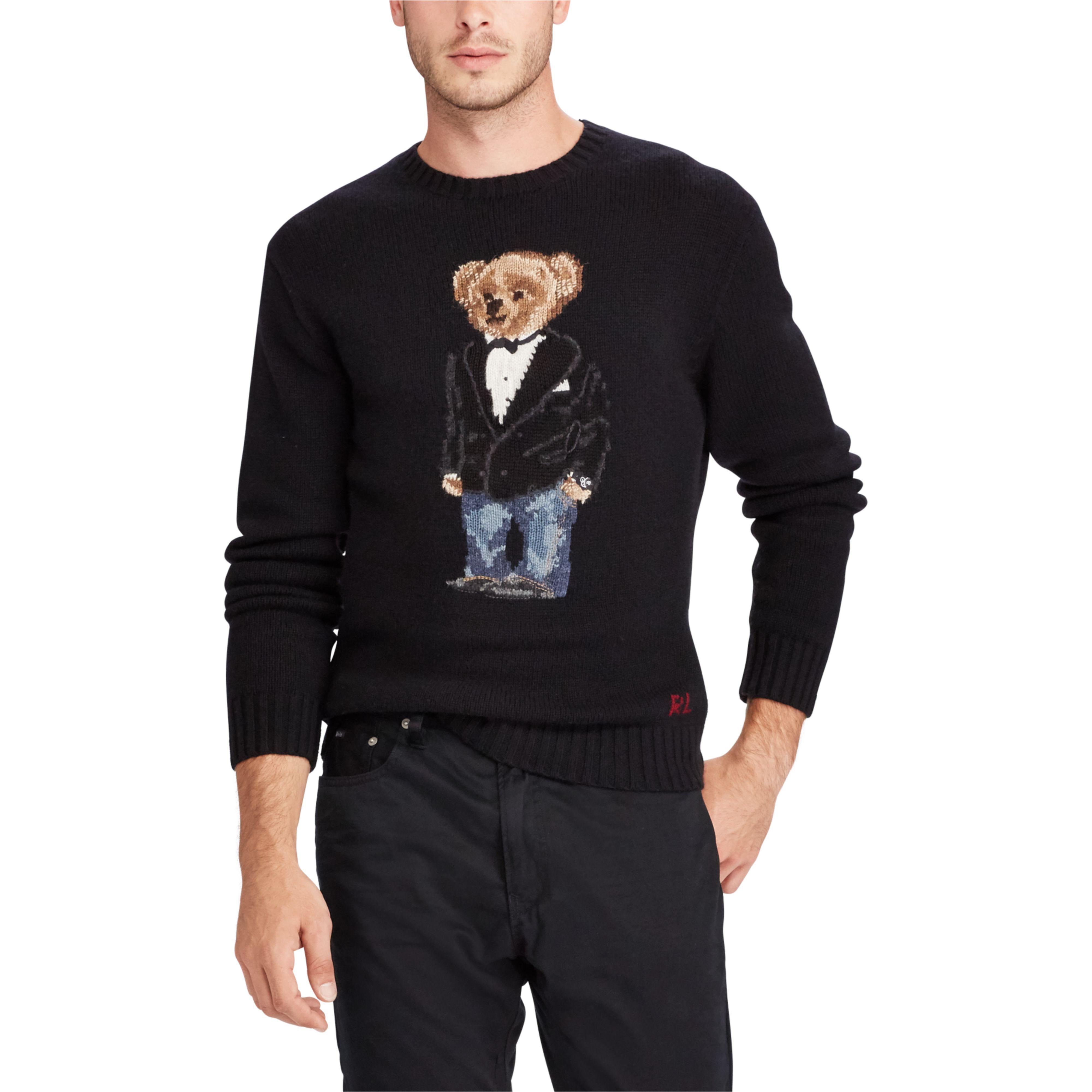 Polo Bear Men Ralph For Tuxedo Black Jumper Wool Lauren UqGLMpjzVS