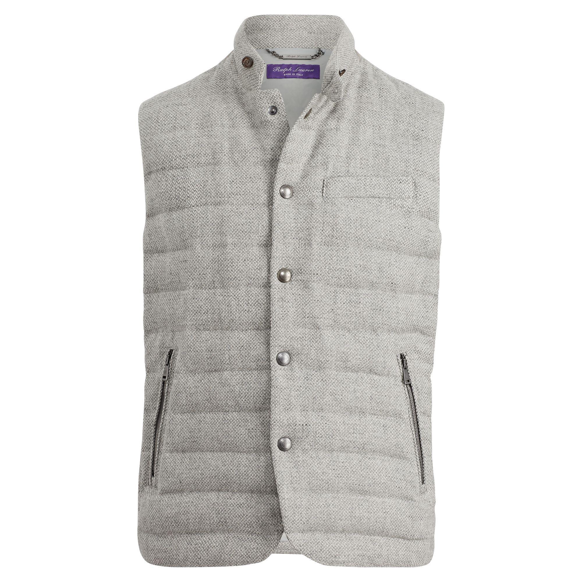 Ralph Lauren Purple Label Quilted Wool-blend Down Vest In