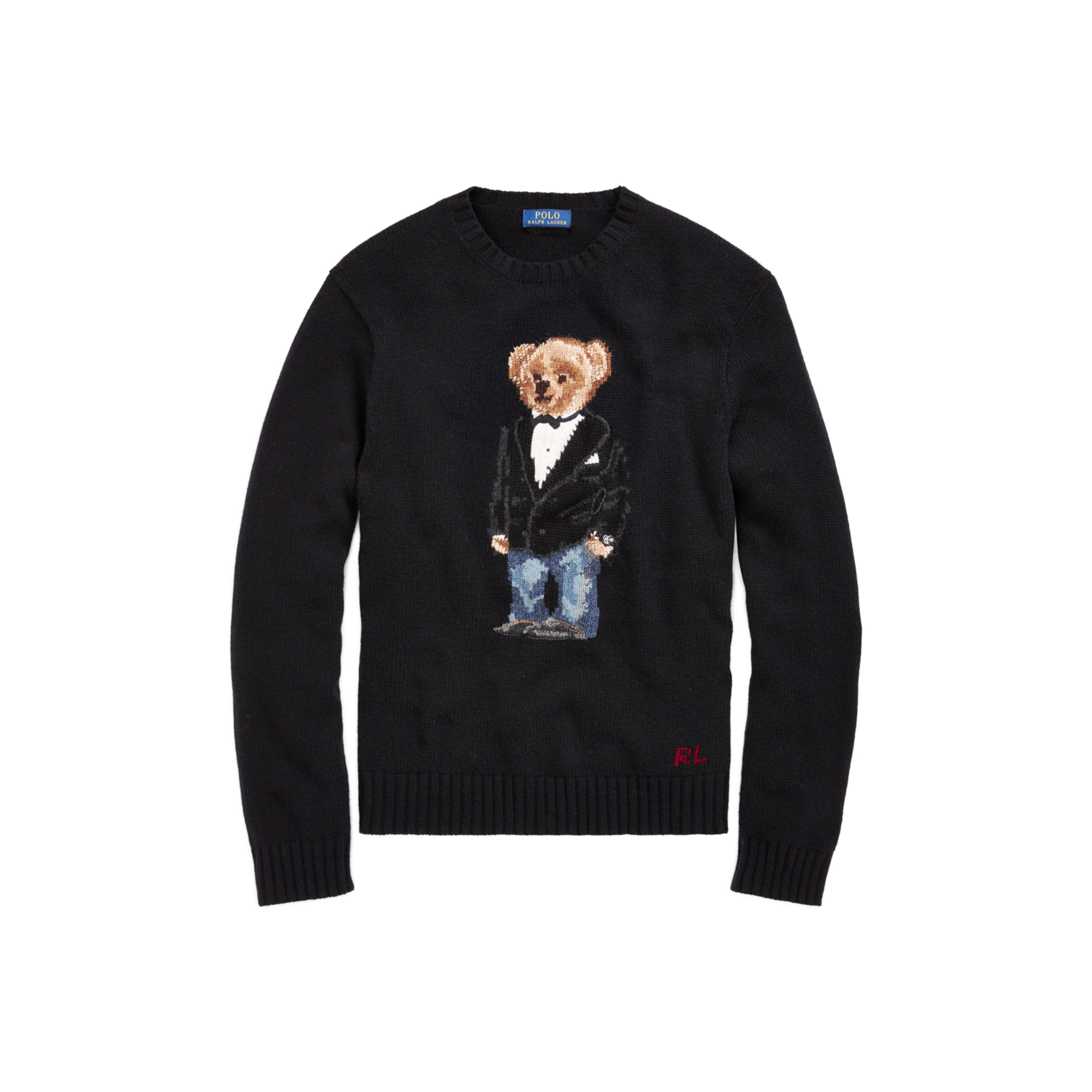 0e2d20f5 Polo Ralph Lauren Tuxedo Bear Wool Jumper in Black for Men - Lyst