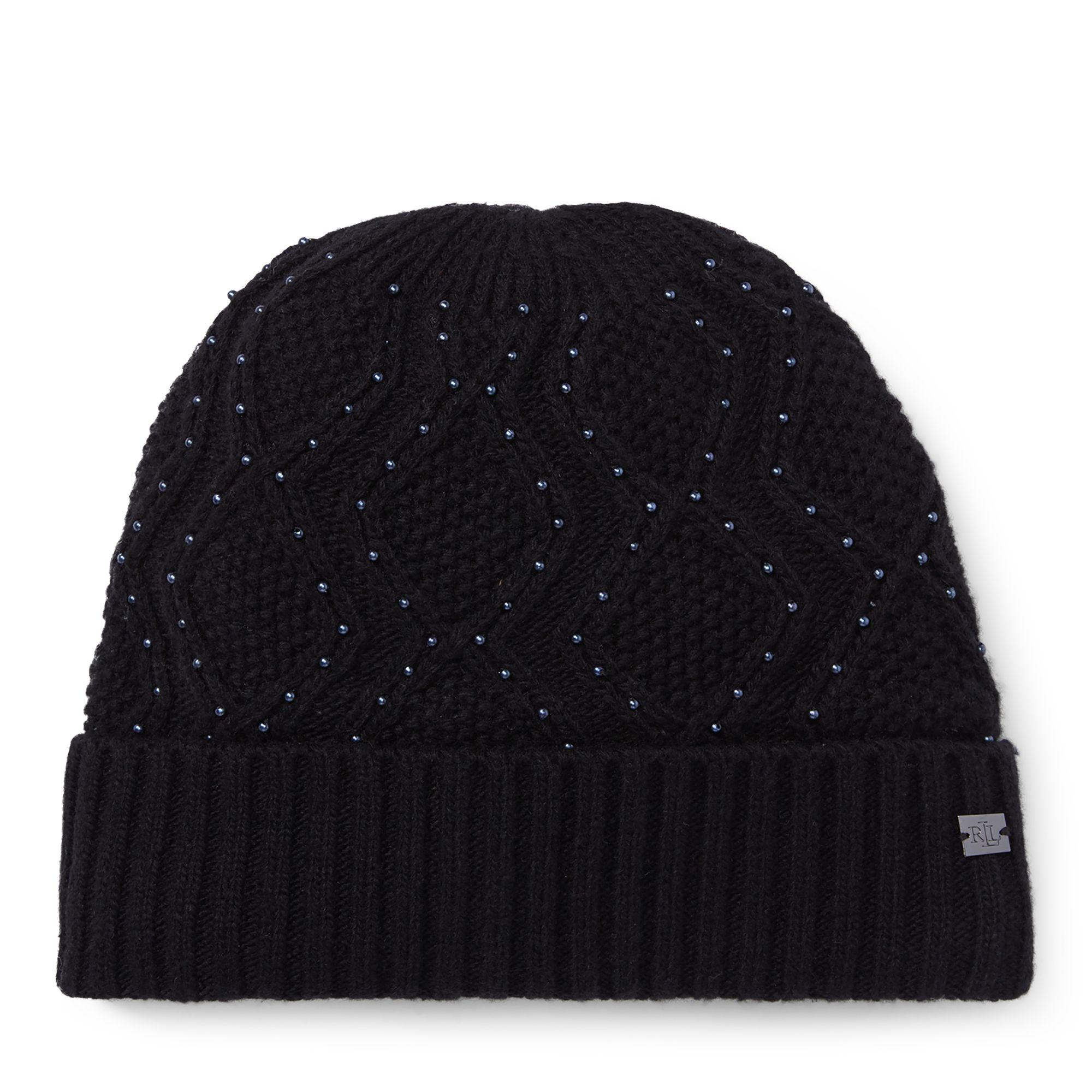 78cff2850 Ralph Lauren Cable-knit Beaded Hat in Black - Lyst