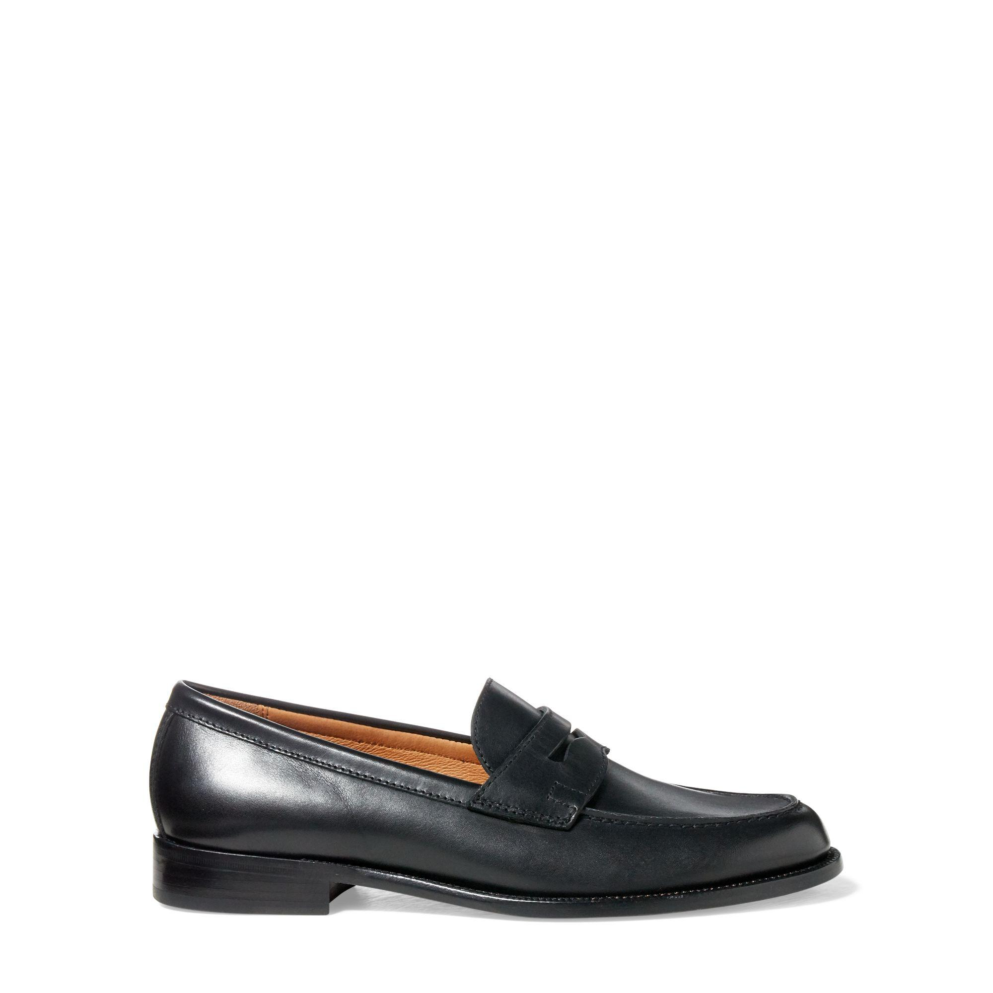 Polo Ralph Lauren. Men's Black Agustin Calfskin Penny Loafer