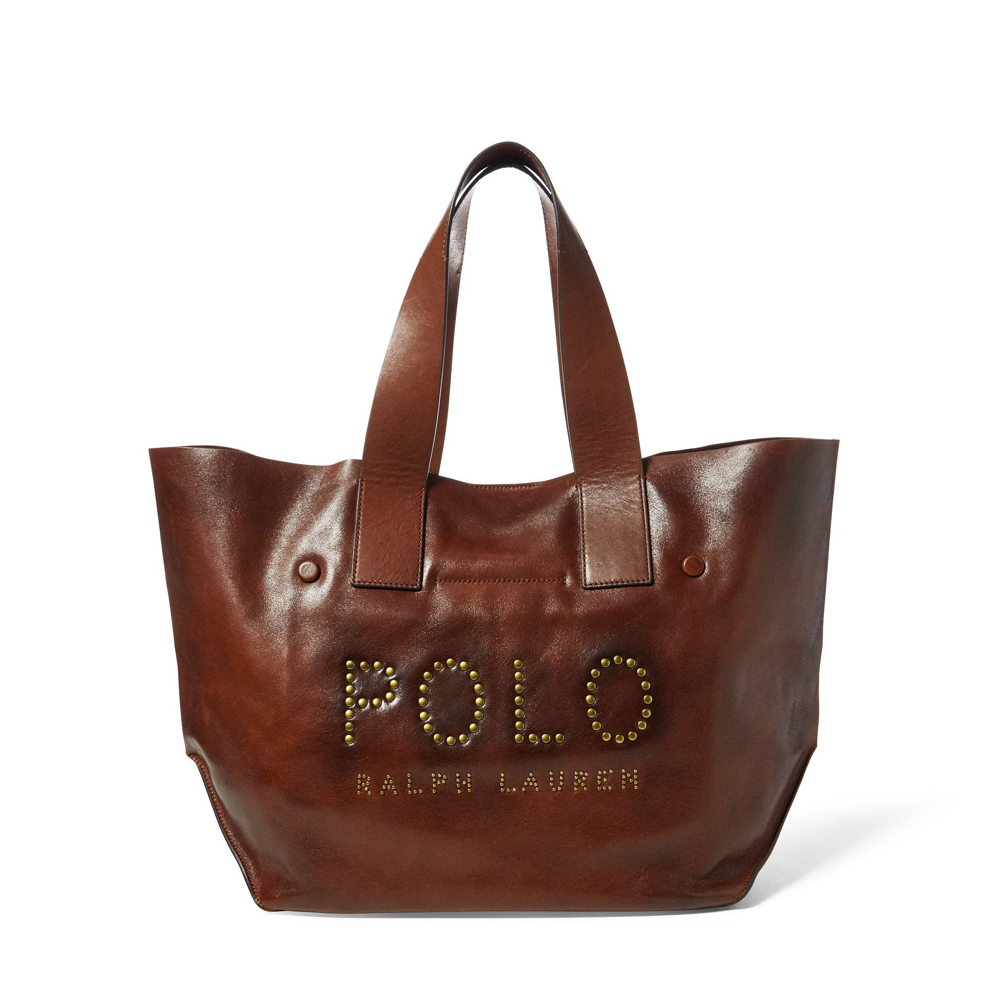 Polo Ralph Lauren Studded Leather Polo Tote Bag in Brown - Lyst 01dd39432ebc6