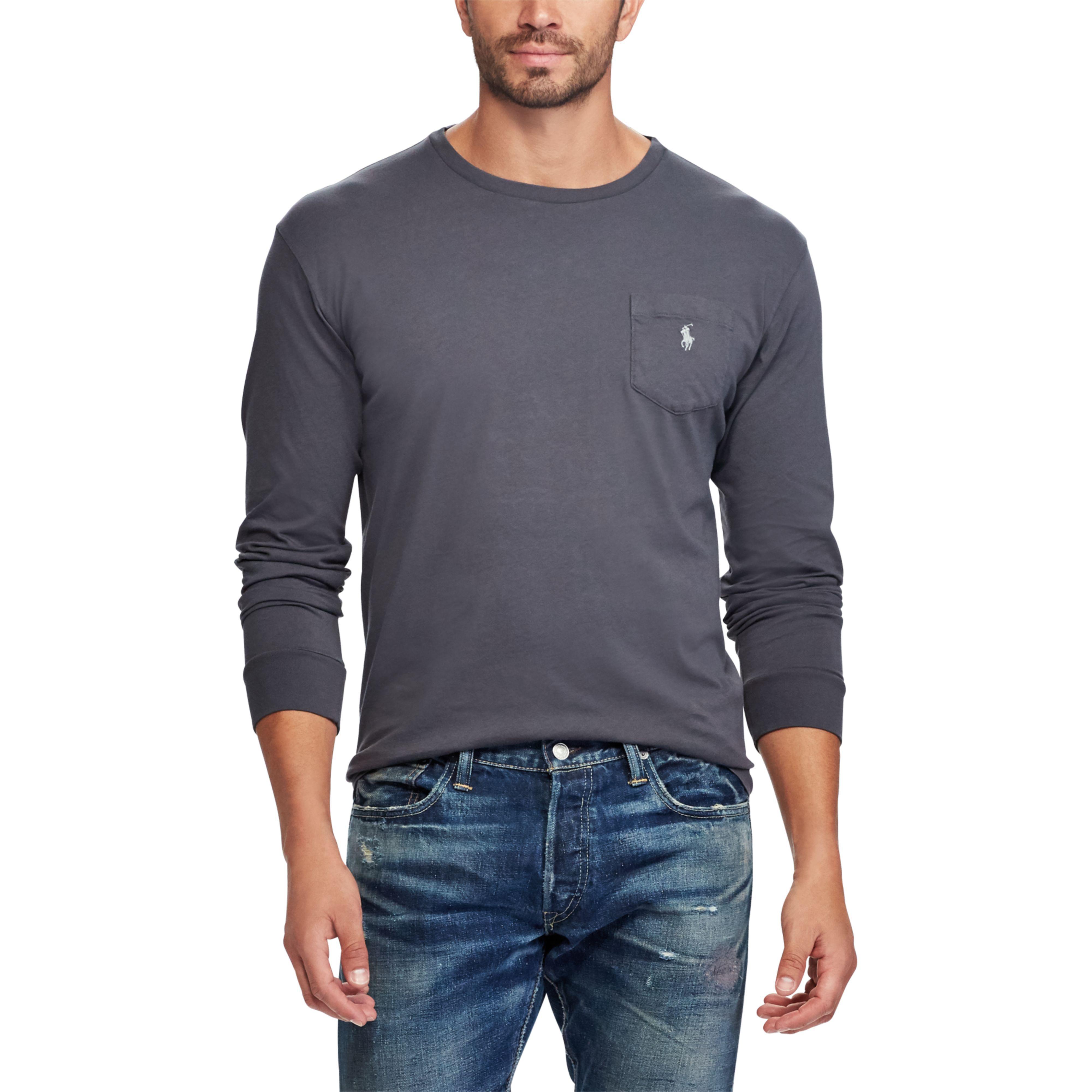 bb688fc95a1d Lyst - Polo Ralph Lauren Custom Slim Fit Cotton T-shirt in Gray for Men