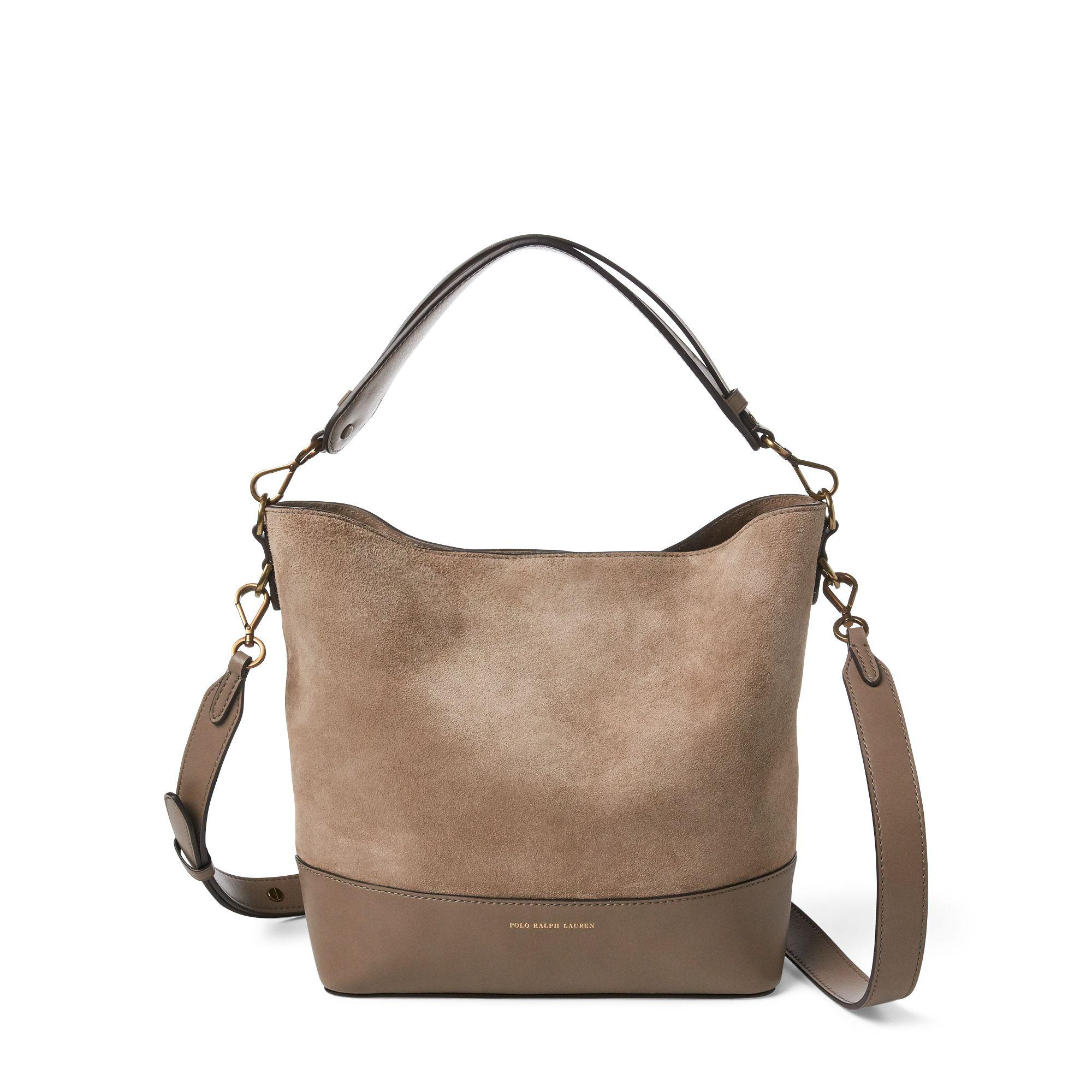 b1f63123ce Lyst - Polo Ralph Lauren Small Suede Leather Hobo Bag in Brown